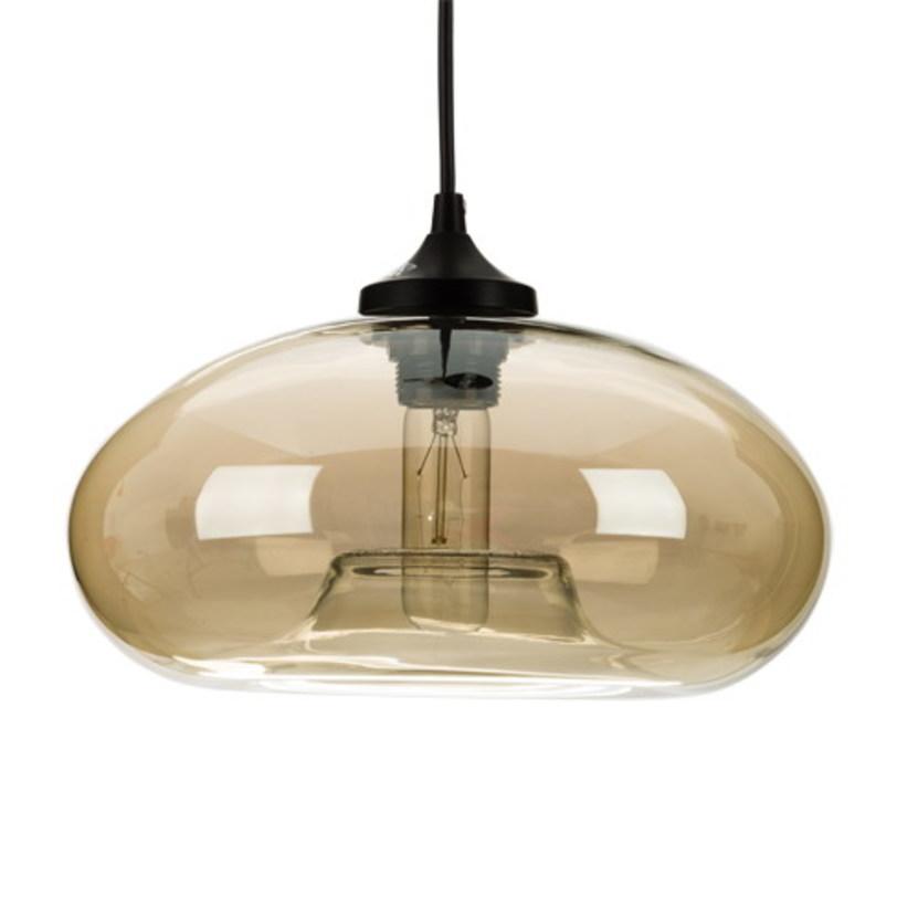 Подвесной светильник AuroraПодвесные светильники<br>Металлическое основание, декоративный стеклянный плафон, мягкий подвес-провод черного цвета<br>Цвет стекла прозрачный коричневый<br>Основание D = 12см, провод L = 150 см<br>Патрон E27, мощность max 1 х 60W&amp;amp;nbsp;<br><br>Material: Стекло<br>Length см: None<br>Width см: None<br>Depth см: None<br>Height см: 14<br>Diameter см: 27