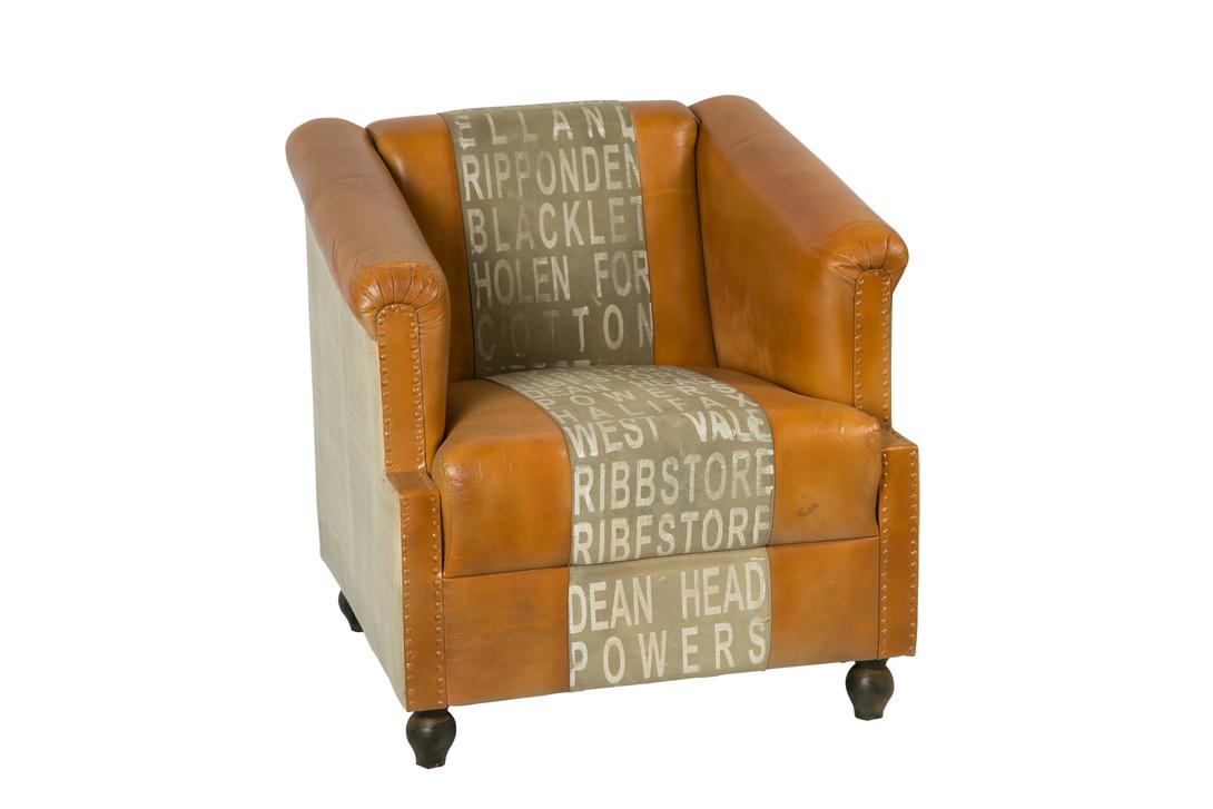 КреслоКожаные кресла<br>В кресле от Deco-Home роскошь американского буржуазного стиля отлично гармонирует со сдержанностью лофта. Простая конструкция выглядит оригинально благодаря отделке лучшими материалами. Натуральная кожа коричневого цвета придает винтажному силуэту благородство и величие. Полоса с печатным принтом добавляет непосредственность представительному облику.<br><br>Material: Кожа<br>Length см: None<br>Width см: 75<br>Depth см: 80<br>Height см: 75<br>Diameter см: None