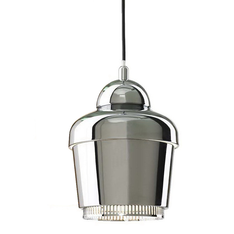 Подвесной светильникПодвесные светильники<br>Металлическое основание, металлический плафон, мягкий подвес<br>Цвет: хром<br>Длина подвеса: 150 см<br>Патрон Е27, мощность 1 * 40W<br><br>Material: Металл<br>Length см: None<br>Width см: None<br>Depth см: None<br>Height см: 30<br>Diameter см: 18