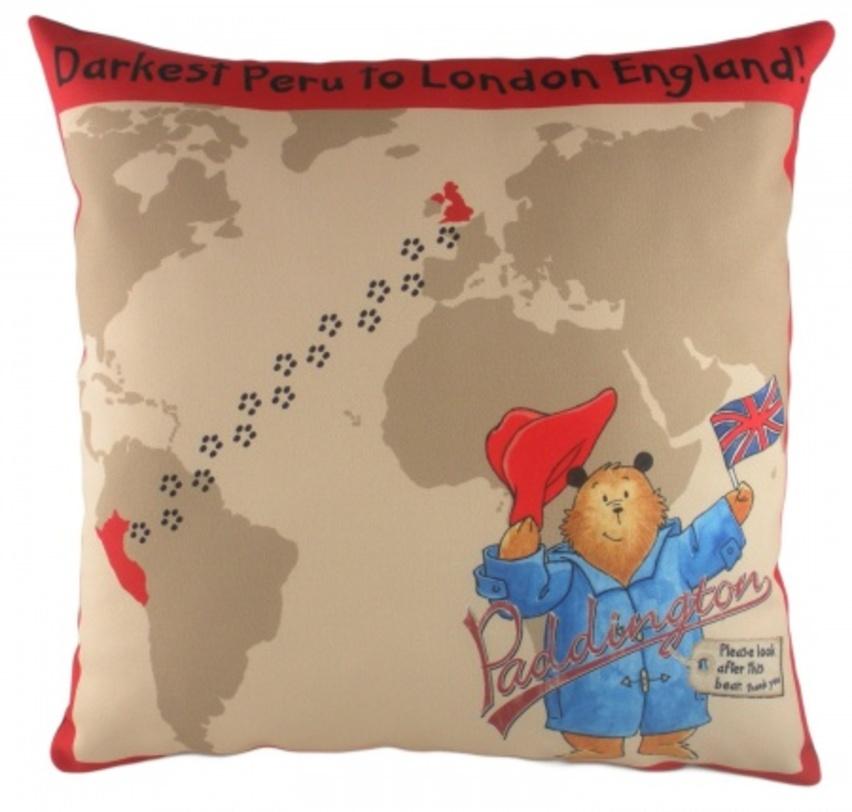Подушка с принтом Paddington JourneyКвадратные подушки и наволочки<br>Веселый мультяшный мишка с удовольствием разместится в комнате вашего ребенка и будет прижиматься к нему и утешать и оберегать от страхов. Подарите ребенку радость!<br><br>Material: Текстиль<br>Length см: 43<br>Width см: 43<br>Depth см: None<br>Height см: 6<br>Diameter см: None