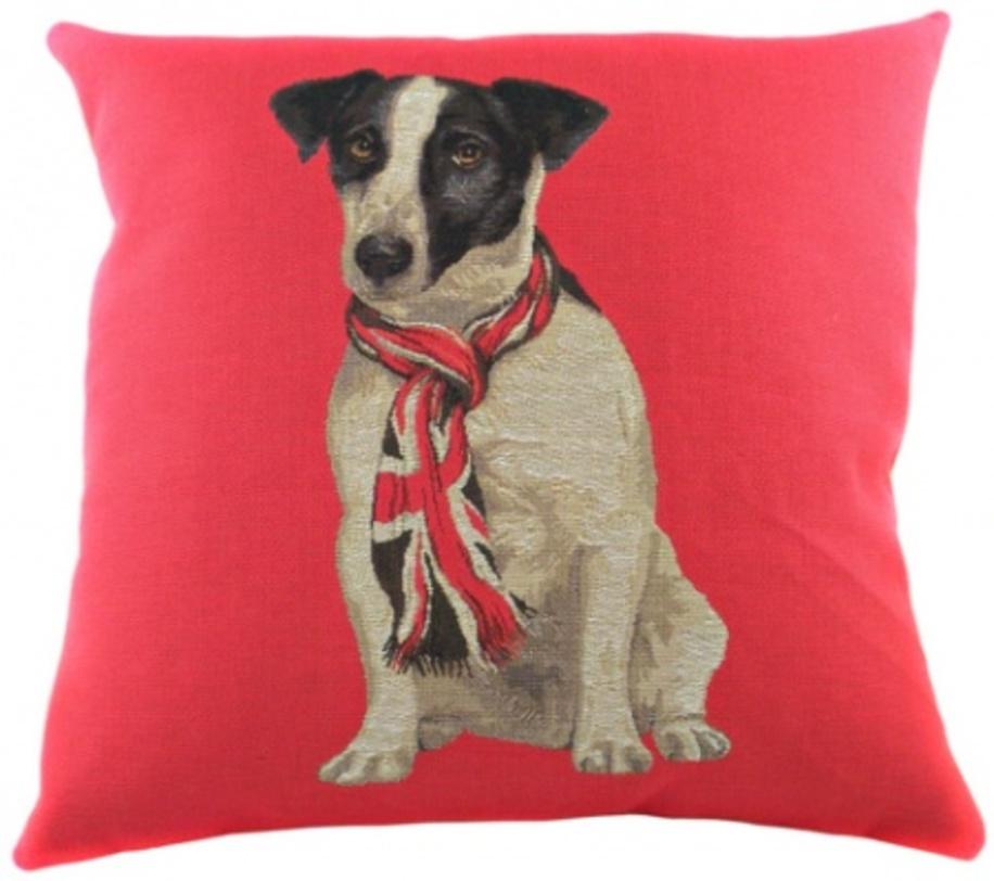 Подушка Jack RusselКвадратные подушки и наволочки<br>Квадратная, розовая подушка из 100% хлопка, с принтом пса с элегантно завязанным на шее шарфом и мягким, упругим наполнителем хорошо поддерживает спину, помогает расслабиться и принять удобную позу, обеспечивает крепкий сон.<br>Материал: Наполнитель - 100% полиэстер, чехол для подушки - 100% хлопок.<br><br>Material: Хлопок<br>Length см: 46<br>Width см: 46<br>Depth см: None<br>Height см: 10<br>Diameter см: None
