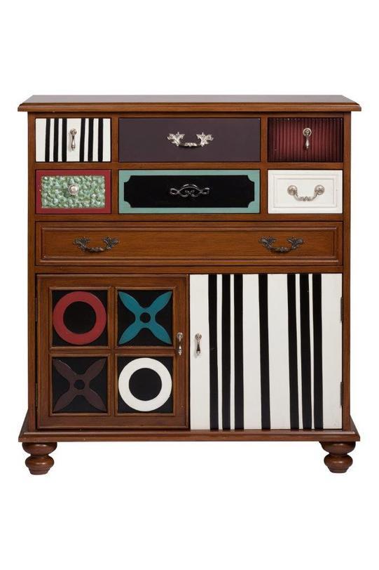 Комод SherponИнтерьерные комоды<br>Комод Sherpon коричневого цвета, изготовлен из дерева с надежной фурнитурой, классической формы, но с креативным декором. Множество разных ящиков комода окрашены в разные цвета, в том числе и в виде клавишей пианино, снабжены великолепными, но разными ручками.<br><br>Material: Береза<br>Length см: 94<br>Width см: 38<br>Depth см: None<br>Height см: 100<br>Diameter см: None