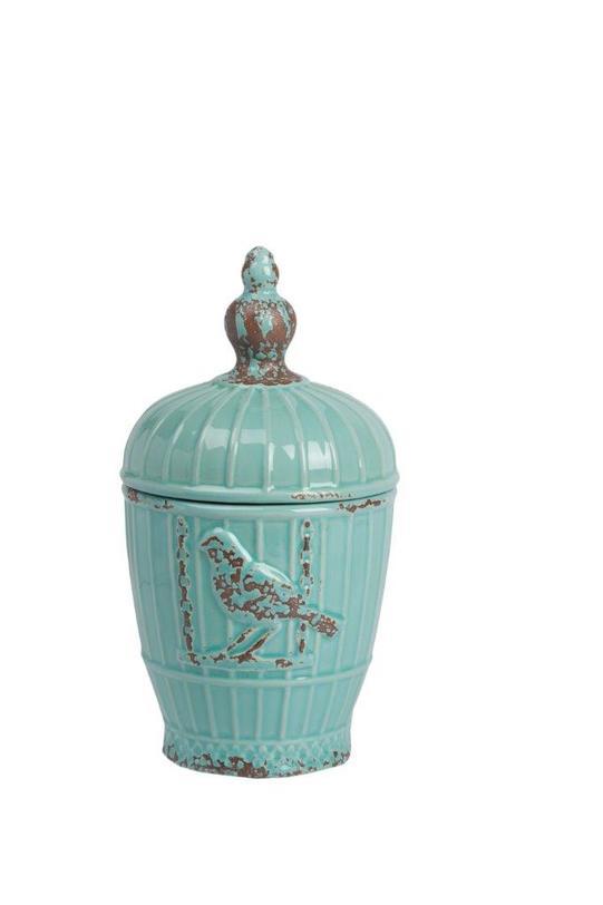 Декоративная ваза LazuroЕмкости для хранения<br>Декоративная ваза Lazuro – бесконечно милый предмет декора интерьера в стиле «прованс». Приятный аквамариновый цвет, необычная форма, искусственные потертости, птицы на боках аксессуара – все это придает ему особый шарм и очаровании французской провинции. С точки зрения практичности, ваза, несмотря на размер, достаточно вместительная, и вы можете хранить в ней любые мелкие предметы или сладости.<br><br>Material: Керамика<br>Length см: 13,5<br>Width см: 13,5<br>Depth см: None<br>Height см: 24,5<br>Diameter см: None