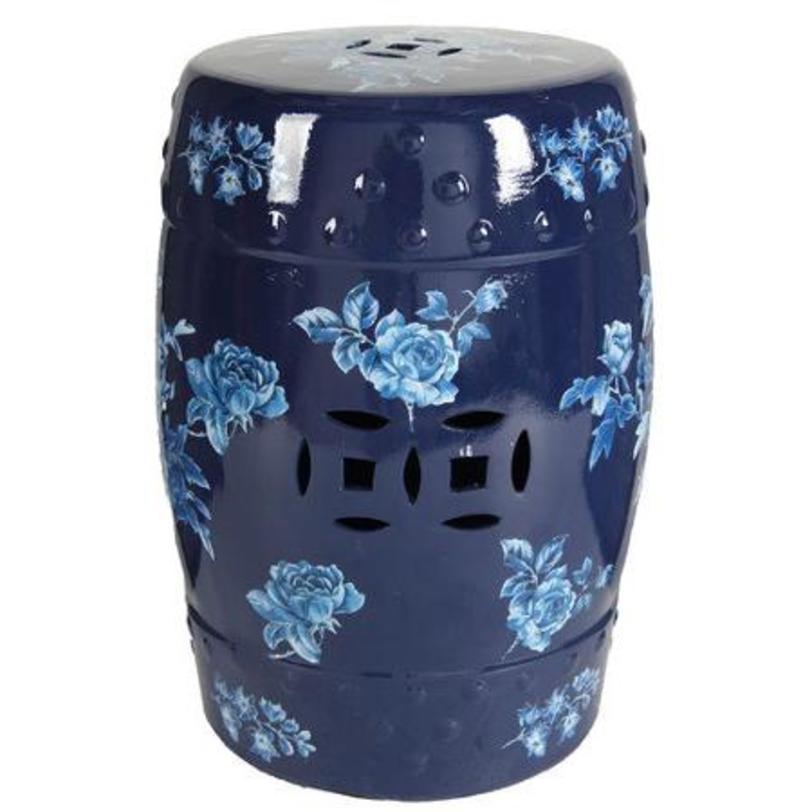 столик-табурет Garden Stool BellizaПриставные столики<br>Керамический столик-табурет Garden Stool Belliza —креативный предмет интерьера, он покрыт глазурью и декорирован голубыми розами. Такой аксессуар может пригодиться как столик, табурет и как изящный, необычный предмет декора.<br><br>Material: Керамика<br>Length см: 33,02<br>Width см: 33,02<br>Depth см: None<br>Height см: 45.75<br>Diameter см: None