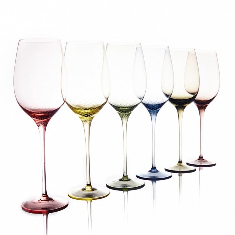 Набор для белого вина из 6 бокалов Sera-IridaБокалы<br>Цветной хрусталь, ручное литьё, ручная алмазная гравировка. Объём бокала 650 мл<br><br>Material: Хрусталь<br>Length см: None<br>Width см: None<br>Depth см: None<br>Height см: 29.0<br>Diameter см: None