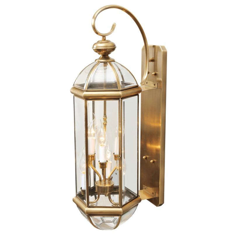 Бра МидосУличные настенные светильники<br>Бра «Мидос» поможет вам на время перенестись в эпоху замков, рыцарей и веселых застолий. Это модель сделана по образцам старинных фонарей, поэтому, повесив этот светильник на стену дома, вы подарите всем членам семьи и гостям положительные теплые эмоции, а, зажигая его летними вечерами во время посиделок за чаем и разговорами, – атмосферу уюта и спокойствия.<br><br>Мощность: 6*40W<br>Цоколь: E14<br><br>Основание из латуни, плафоны из стекла.<br><br>Рекомендуемая площадь освещения: 12 кв. м<br><br>Material: Латунь<br>Length см: 31<br>Width см: 25<br>Depth см: None<br>Height см: 80<br>Diameter см: None