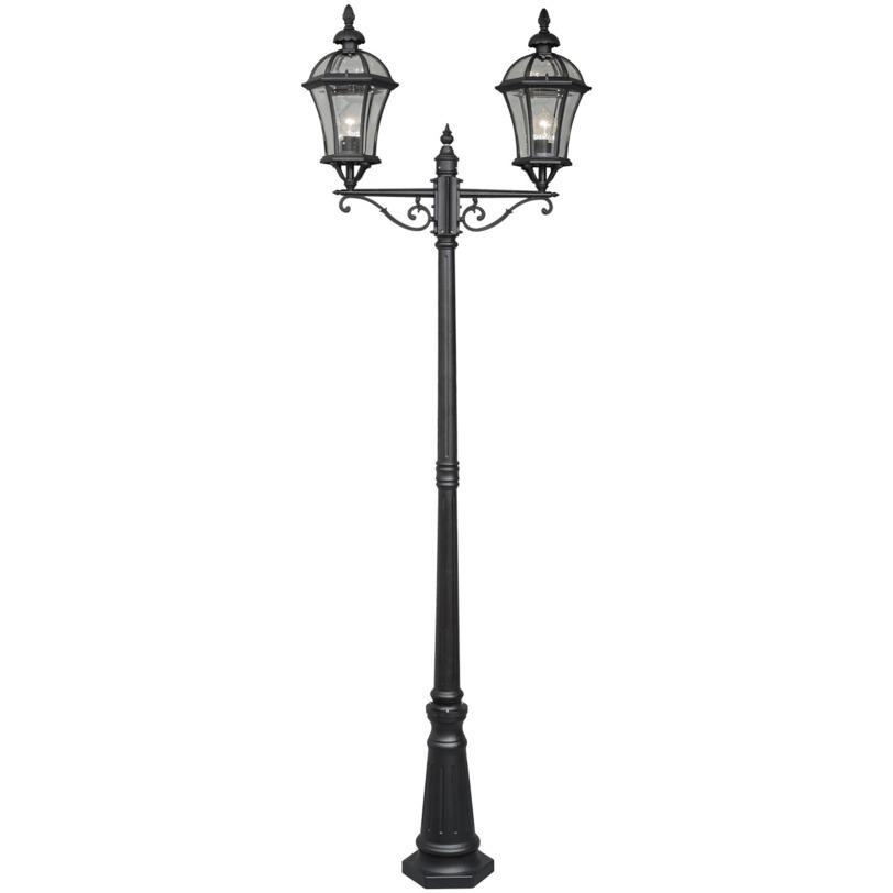 Светильник СандраУличные наземные светильники<br>Этот величественный светильник создан для того, чтобы стать изюминкой садового участка в классическом стиле. Его изысканность и винтажность как нельзя лучше подходят для организации уютной семейной резиденции.<br><br>Мощность: 2*100W<br>Цоколь: E27<br>Основание из алюминия черного цвета, плафоны из стекла.<br>Рекомендуемая площадь освещения: 10 кв. м<br><br>Material: Алюминий<br>Length см: 70<br>Width см: None<br>Depth см: None<br>Height см: 230<br>Diameter см: 20