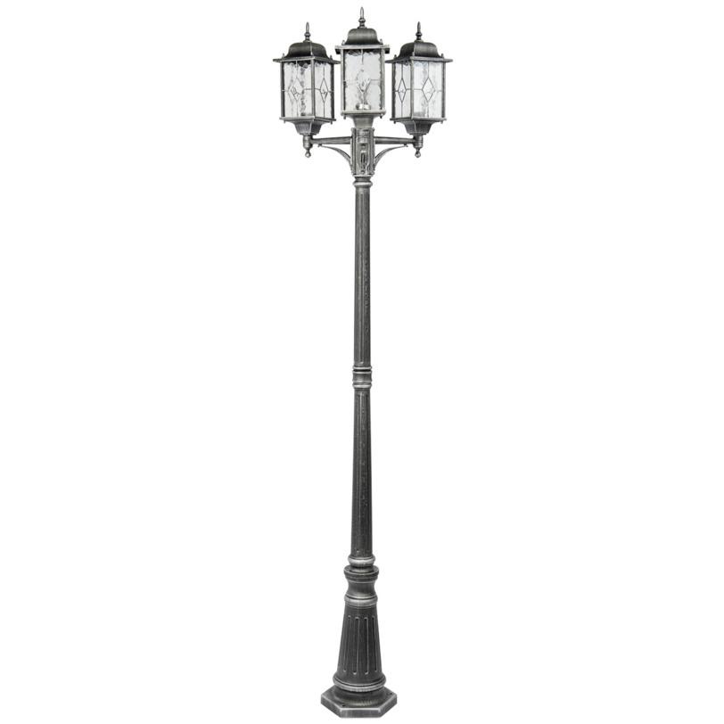 Светильник БургосУличные наземные светильники<br>Светильник «Бургос» позволит почувствовать изысканную утонченность старины. Этот фонарь выполнен из качественного литого алюминия, а витражное стекло плафонов выглядит красиво и необычно.<br><br>Мощность: 3*100W<br>Цоколь: E27<br>Основание из литого алюминия черного цвета, декорирование серебряной патиной, плафоны – витражное стекло<br>Рекомендуемая площадь освещения: 14 кв. м.<br><br>Material: Алюминий<br>Length см: 60<br>Width см: None<br>Depth см: None<br>Height см: 225<br>Diameter см: None