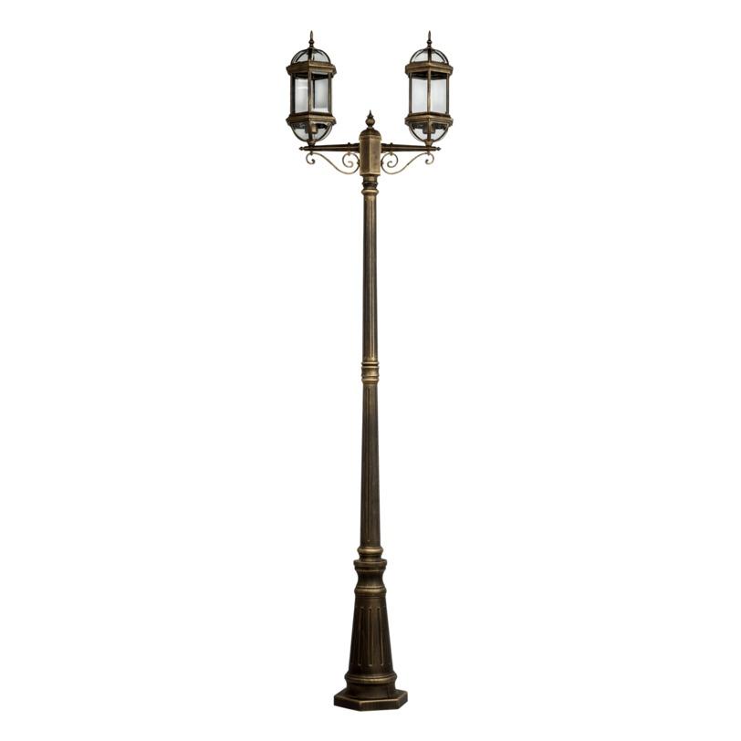 Светильник ПлимутУличные наземные светильники<br>Светильник «Плимут» поможет создать на вашем садовом участке истинно английский уголок. По внешнему виду он напоминает старый парковый фонарь, а его форма подобна искусно оформленному винтажному канделябру, две лампы которого дают спокойный свет, рассеивающий темноту.<br><br>Мощность: 2*100W<br>Цоколь: E27<br><br>Рекомендуемая площадь освещения: 9 кв. м<br><br>Material: Металл<br>Length см: 60<br>Width см: 20<br>Depth см: None<br>Height см: 228<br>Diameter см: None