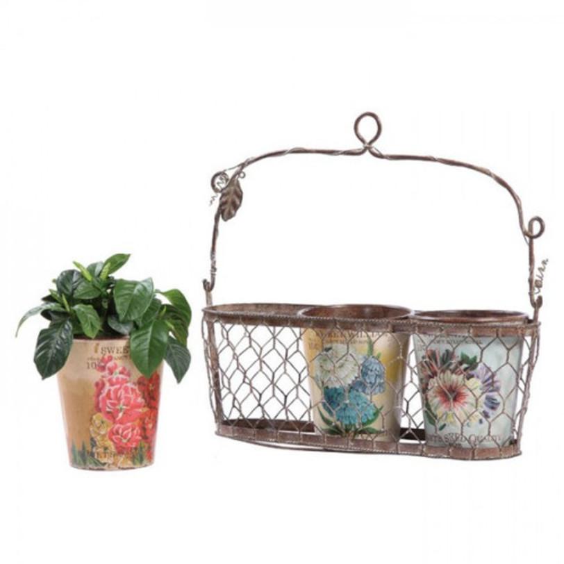 Корзинка с горшками для цветов FleuretteКашпо и аксессуары для цветов<br>Подвесная корзинка с декоративными горшками для цветов Fleurette поможет вам украсить стены вашего дома тремя роскошными растениями на ваш вкус. Подставка декорирована оловянными веточками и листьями, горшки раскрашены великолепными рисунками с изображением цветов. Это поможет наполнить ваш дом уютом и теплом, добавить в него яркости и роскоши. Аксессуар превосходно будет смотреться как на кухне, так и в любой другой комнате.<br>Высота горшка 14 см<br><br>Material: Олово<br>Length см: 30<br>Width см: 10<br>Depth см: None<br>Height см: 30<br>Diameter см: None