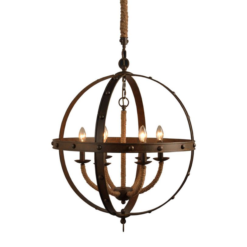 Люстра Lancelot ChandelierЛюстры подвесные<br>&amp;lt;div&amp;gt;Создайте настроение с люстрой &amp;quot;Lancelot Chandelier&amp;quot;. Уникальная по форме и исполнению, она добавит больше оригинальности кухне, столовой или гостиной, оформленной в индастриал стиле. Железные окружности, декорированные заклепками, напомнят об особой романтике гранжа. Каркас люстры, обмотанный канатными веревками, придаст брутальности суровой эстетике неординарного промышленного дизайна.&amp;lt;/div&amp;gt;&amp;lt;div&amp;gt;&amp;lt;br&amp;gt;&amp;lt;/div&amp;gt;&amp;lt;div&amp;gt;Вид цоколя: E14&amp;lt;/div&amp;gt;&amp;lt;div&amp;gt;Мощность: &amp;amp;nbsp;40W&amp;lt;/div&amp;gt;&amp;lt;div&amp;gt;Количество ламп: 6 (нет в комплекте)&amp;lt;/div&amp;gt;<br><br>Material: Металл<br>Length см: None<br>Width см: None<br>Depth см: None<br>Height см: 84<br>Diameter см: 67