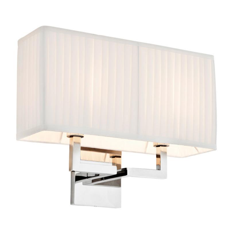 Бра WestbrookБра<br>Настенный светильник с металлическим никелированным каркасом. Плиссированный текстильный абажур белого цвета.<br>Мощность: 2 x 40 Вт<br>Цоколь: E14<br><br>Material: Металл<br>Ширина см: 35<br>Высота см: 28