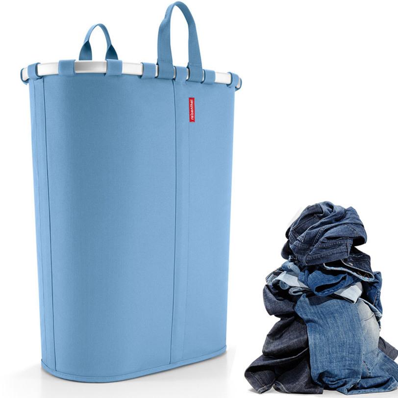 Корзина Ovalbasket l pastel blueКорзины<br>Отличное решение для хранения грязного белья, требующего стирки. Удобная корзина не займет много места в ванной, идеально впишется везде и не будет попадаться под ноги. Две удобные ручки для переноски и затягивающаяся на шнурок сетчатая крышка - всё просто, красиво и удобно. Объем - 55 литров.<br><br>Material: Текстиль<br>Length см: 52<br>Width см: 28<br>Depth см: None<br>Height см: 61<br>Diameter см: None