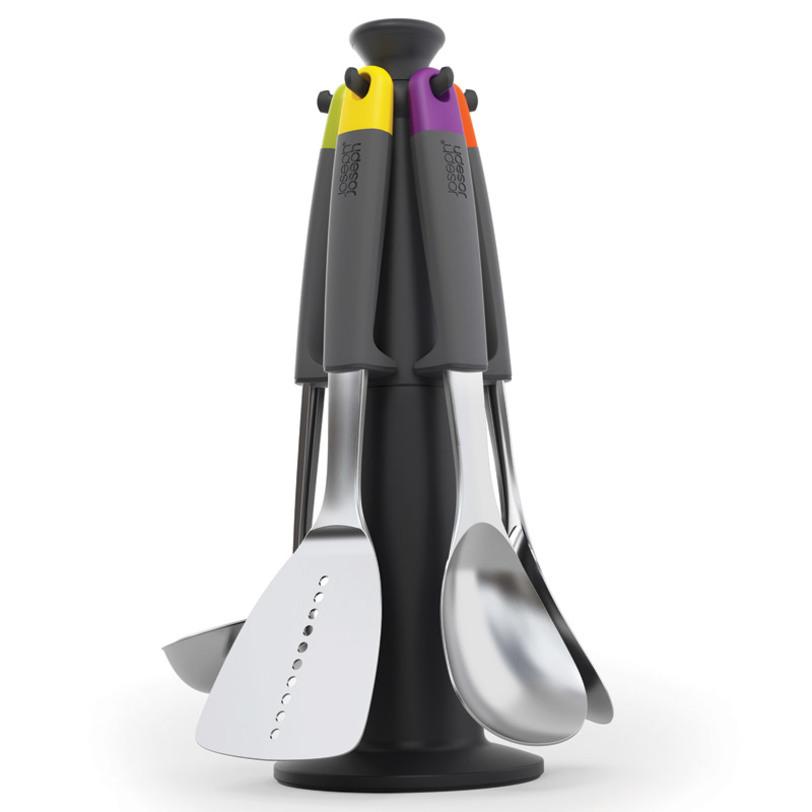 Набор кухонный Levate™ carouselКухонные наборы посуды<br>Отличное дополнение к популярной линейке продуктов Elevate™. Их отличительная черта - специальная утяжеленная ручка, которая не дает рабочей поверхности инструмента касаться стола. Вы никогда не испачкаете кухонную поверхность!<br>Набор выполнен из комбинации высококачественной нержавеющей стали и жаропрочного силикона. В наборе 5 инструментов с эргономичными ручками и вращающаяся подставка с нескользящим основанием. Просто поверните её, чтобы выберать нужный предмет.<br>Инструменты можно мыть в посудомоечной машине. Обратите внимание: они не подходят для совместного использования с антипригарной посудой!<br><br>Material: Пластик<br>Length см: 22<br>Width см: 18<br>Depth см: None<br>Height см: 35<br>Diameter см: None