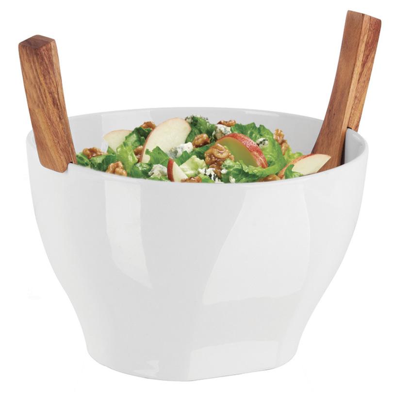 Миска SavoreМиски и чаши<br>Миска для салата с приборами. Эксклюзивная серия продуктов для дома, которые достойны королевского стола. Великолепная глубокая миска выполнена из высококачественной керамики и дополнена салатными приборами из древесины акации. Они легко крепятся на край и всегда готовы придти на помощь, чтобы подать вашим гостям всевозможные вкусности.<br><br>Material: Керамика<br>Length см: 33<br>Width см: 19<br>Depth см: None<br>Height см: 27,4<br>Diameter см: None