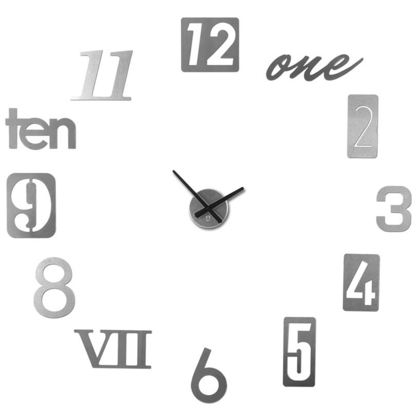 Часы настенные Numbra алюминиевыеНастенные часы<br>Вдохновением к созданию таких необычных часов послужили таблички с номерами домов на туманных английский улочках. Каждый элемент часов Numbra крепится отдельно, таким образом вы можете сами решить, на каком расстоянии цифры будут располагать друг относительно друга, будут ли они кругом, ромбом, треугольником... Можно расположить их близко по трафарету, который идет в комплекте, а можно на расстоянии, задействовав всё пространство любой скучной и пустой стены. В комплекте имеется 12 металлических цифр, механизм со стрелками, трафарет, а также специальная монтажная липучка для крепления часов к стене. Механизм работает при помощи двух батареек АА. Таблички с цифрами делятся на три вида по размеру: 22 х 7 см, 17 х 17 см и 15 х 10 см.<br><br>Material: Алюминий