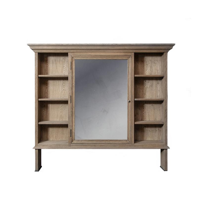 Зеркало ХугоКнижные шкафы и библиотеки<br>«Хуго» — оригинальное зеркало, которое помимо своей главной функции, предлагает еще одну. Модель может быть использована для хранения различных домашних мелочей или декоративных аксессуаров. Натуральный древесный оттенок и лаконичный силуэт придают облику благородство и естественную красоту. Такой теплый образ подстать душевным интерьерам в стиле кантри, где ценятся уют и практичность.&amp;amp;nbsp;<br><br>Material: Дерево<br>Length см: None<br>Width см: 150<br>Depth см: 22<br>Height см: 132<br>Diameter см: None