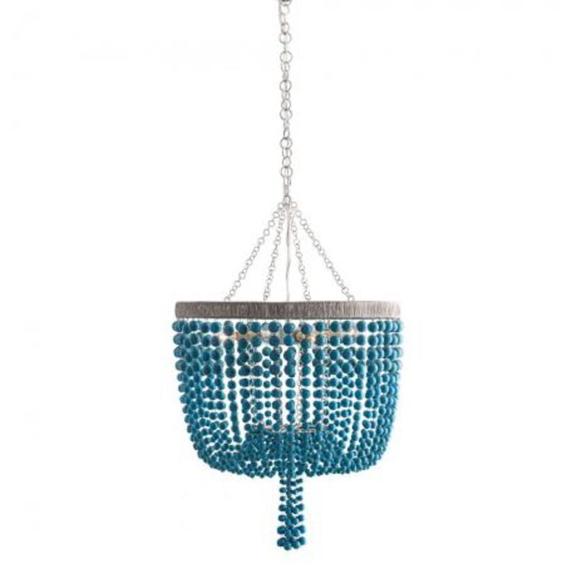 Люстра Viola ChandelierЛюстры подвесные<br>Люстра на металлической арматуре серебряного цвета. Декор: множество ниспадающих керамических бус бирюзового цвета. Высота светильника регулируется за счет звеньев цепи.&amp;nbsp;Вид цоколя: E27Мощность: &amp;nbsp;40WКоличество ламп: 6 (нет в комплекте)<br><br>kit: None<br>gender: None