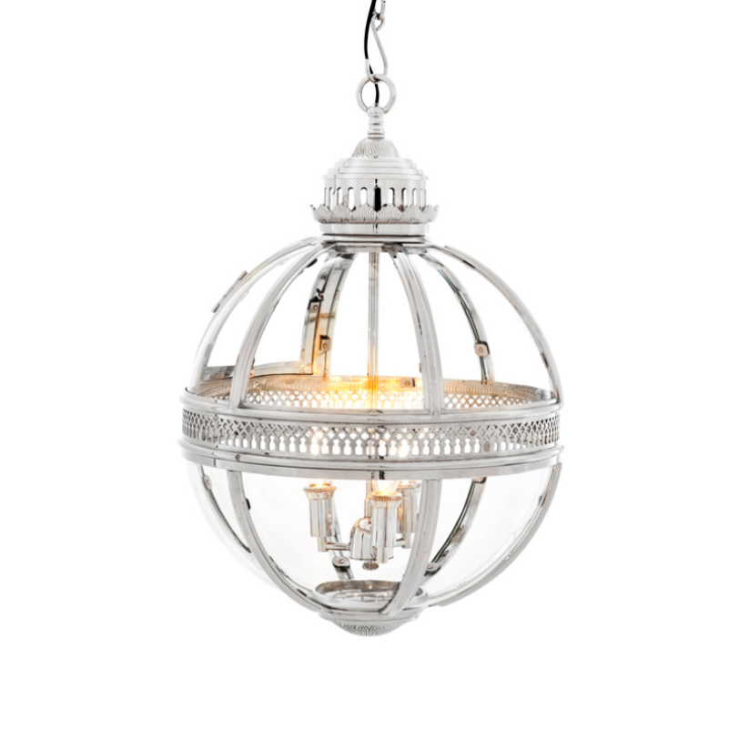 Подвесная люстра Lantern ResidentialЛюстры подвесные<br>Подвесной светильник из стекла и металла. Цвет металла – никель. Высота подвеса регулируется. Можно дополнительно укомплектовать светильник абажурами.<br><br>Количество лампочек: 3<br>Мощность: 3 x 40 Вт<br>Цоколь: E14<br><br>Material: Металл<br>Length см: None<br>Width см: None<br>Depth см: None<br>Height см: 63<br>Diameter см: 43