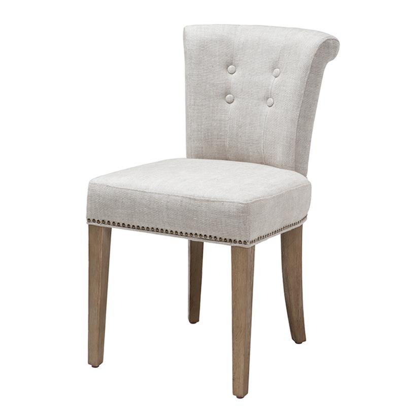 Стул Key LargoОбеденные стулья<br>Мягкий стул на деревянных ножках коричневого цвета. Кресло обтянуто льняной тканью белого цвета и декорировано металлическими заклепками. Модель выполнена в технике &amp;quot;Капитоне&amp;quot;, сзади декоративное кольцо.<br><br>Material: Текстиль<br>Length см: None<br>Width см: 49<br>Depth см: 56<br>Height см: 88<br>Diameter см: None