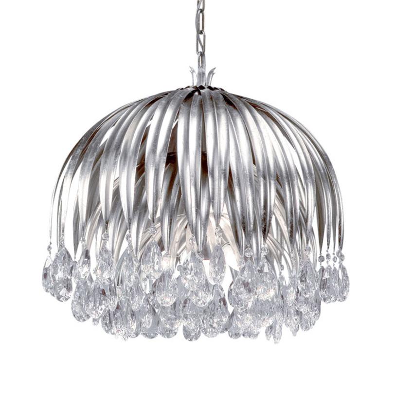 Подвесной светильникПодвесные светильники<br>Подвесной светильник из металла серебряного цвета. Светильник выполнен в виде цветка с ниспадающими лепестками. Хрустальные прозрачные подвески на конце лепестков. Высоту светильника можно регулировать. Дизайн: Karen Lenz.<br><br>Количество лампочек: 6<br>Мощность: 6 x 42 Вт<br>Цоколь: E14<br><br>Material: Металл<br>Length см: None<br>Width см: None<br>Depth см: None<br>Height см: 55<br>Diameter см: 60