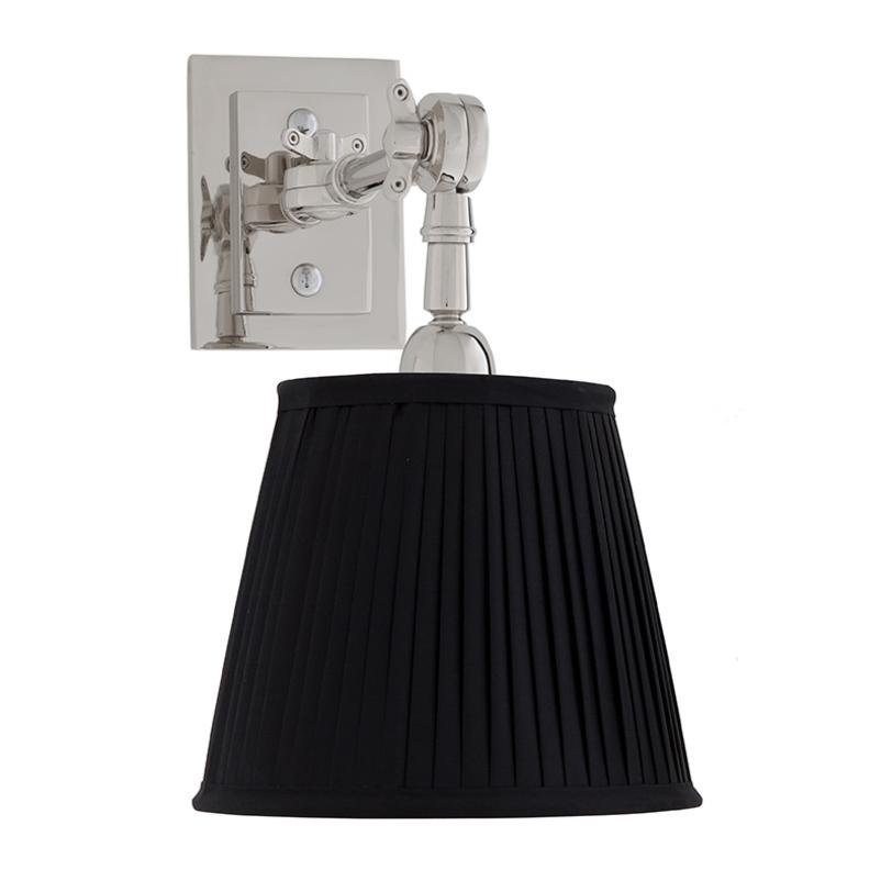 Бра Wentworth singleБра<br>Бра с текстильным плиссированным абажуром черного цвета. Цвет металла: никель. Глубина светильника регулируется, его можно вращать по вертикали.<br>Материал: текстиль, металл<br>Количество лампочек: 1<br>Мощность: 1 x 40 Вт<br>Цоколь: E14<br><br>Material: Текстиль<br>Ширина см: 20<br>Высота см: 25<br>Глубина см: 8