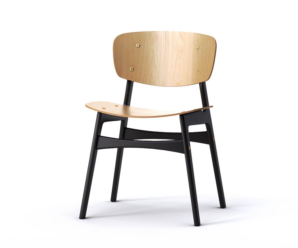 Стул SIDОбеденные стулья<br>Оригинально &amp;quot;скроенный&amp;quot; обеденный стул SID &amp;amp;nbsp;не оставит равнодушной ни одну кухню в скандинавском стиле. Спинка и сидение слегка изогнуты, что обеспечит полный комфорт во время трапезы. Ножки и поперечные перекладины окрашены в черный цвет, придавая строгость внешнему виду. Подобный контраст понравится любителям томного черного цвета в отделке интерьера и предметах декора.<br><br>Material: Дерево<br>Length см: 54<br>Width см: 46<br>Depth см: None<br>Height см: 78<br>Diameter см: None