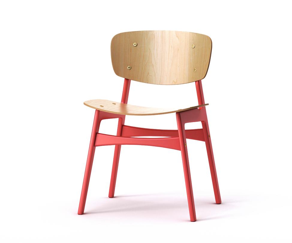 Стул SIDОбеденные стулья<br>Яркий и энергичный обеденный стул SID задаст настроение любой кухне в скандинавском стиле. Спинка и сидение слегка изогнуты, что обеспечит полный комфорт во время трапезы. Ножки и поперечные перекладины окрашены в красный цвет, особенно выделяясь на фоне светлого дерева. Подобный контраст привлечет внимание гостей и не оставит без комплимента обеденную зону.<br><br>Material: Дерево<br>Length см: 54<br>Width см: 46<br>Depth см: None<br>Height см: 78<br>Diameter см: None