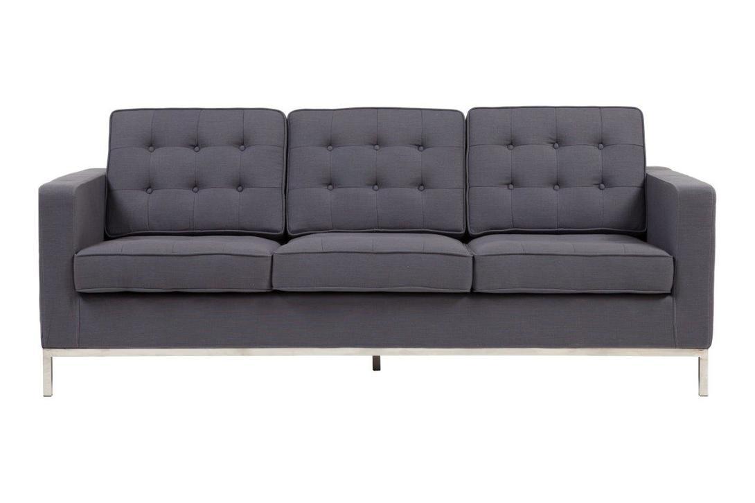 Диван  Florence Knoll Sofa GreyТрехместные диваны<br>&amp;lt;div&amp;gt;Florance Knoll Sofa Grey, благодаря лаконичному дизайну, впишется в любой современный интерьер. Особенно эффектно диван будет смотреться в квартире-студии, выполненной в стиле лофт. Прямоугольная форма и тонкие стальные ножки модели являют собой образец сдержанности. Элегантная спинка, состоящая из трех модулей, декорирована пуговицами-капитоне. Благородный серый оттенок привнесет в пространство индустриальный колорит.&amp;amp;nbsp;&amp;lt;br&amp;gt;&amp;lt;/div&amp;gt;&amp;lt;div&amp;gt;&amp;lt;br&amp;gt;&amp;lt;/div&amp;gt;Материал: ткань, поролон, деревянный каркас, ножки из нержавеющей стали<br><br>Material: Текстиль<br>Length см: 200<br>Width см: 82<br>Depth см: None<br>Height см: 80<br>Diameter см: None