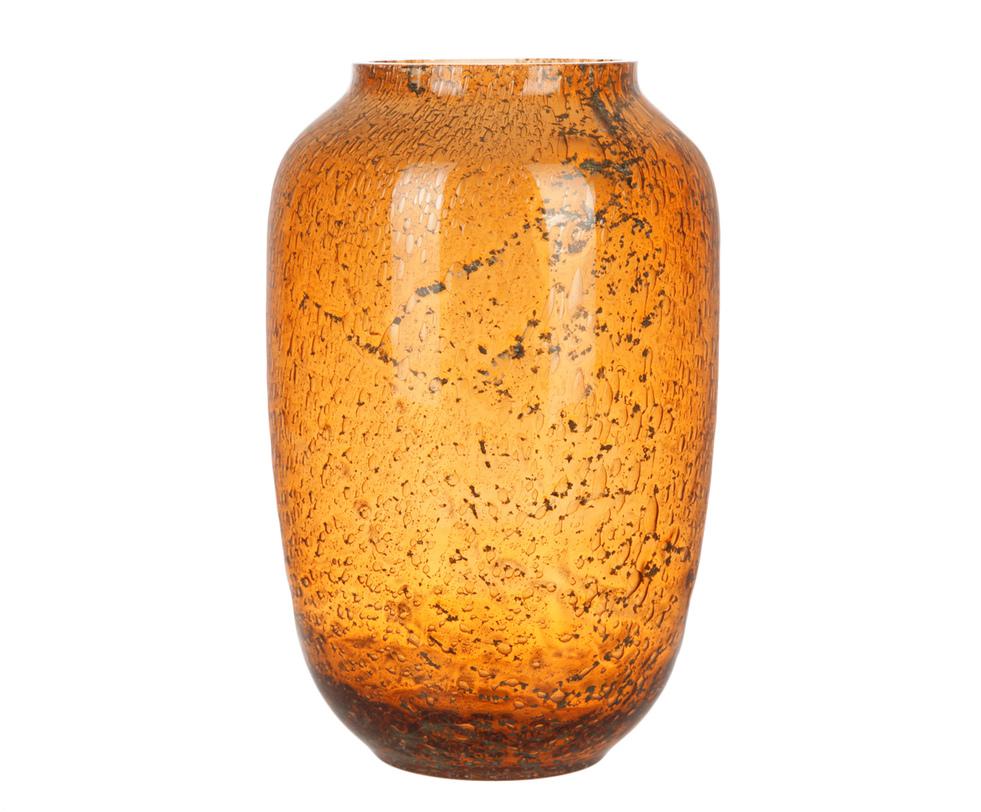 ВазаВазы<br>Элегантная ваза овальной формы дополнена фактурным вкраплением черного цвета. Отличное решение для тех, кто любит яркие цветовые пятна в декоре. Приятный теплый оттенок оранжевого напоминает солнце. Если внутрь поместить свечу, то можно использовать в качестве светильника. Подойдет для интерьеров, выполненных в этнических стилях.<br><br>Material: Стекло<br>Length см: None<br>Width см: None<br>Depth см: None<br>Height см: 30<br>Diameter см: 20
