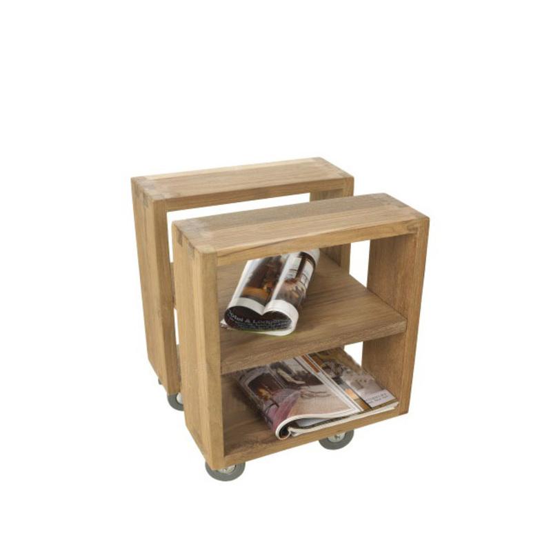"""Стол журнальный """"Fissar""""Журнальные столики<br>Журнальный столик Fissar можно легко передвигать, благодаря колесикам. Возможны два варианта столика: открытый или закрытый. Первый вариант с разделенной столешницей выглядит геометрически замысловато, второй - классический, но не менее стильный.<br><br>Material: Тик<br>Length см: 50.0<br>Width см: 40.0<br>Depth см: None<br>Height см: 40.0<br>Diameter см: None"""