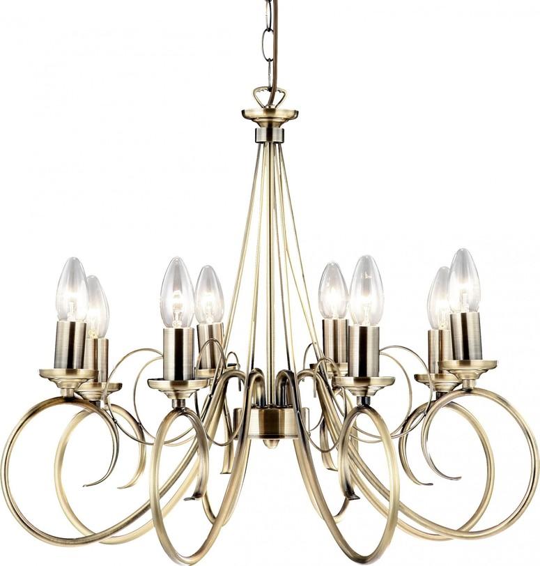 Люстра-канделябр TruncatusЛюстры подвесные<br>Повесная люстра на восемь ламп по дизайну напоминает канделябр и выглядит очень празднично. Люстра цвета бронзы украсит гостиную в доме, а также подойдет для оформления коммерческих помещений — ресторана, отеля и других.Высота регулируется.<br>Цоколь :E14<br>Количество ламп: 8<br>Максимальная мощность лампы 1 :40<br>Общая мощность: 320<br>Напряжение: 220<br><br>Material: Металл<br>Length см: None<br>Width см: None<br>Depth см: None<br>Height см: 135.0<br>Diameter см: 55.0