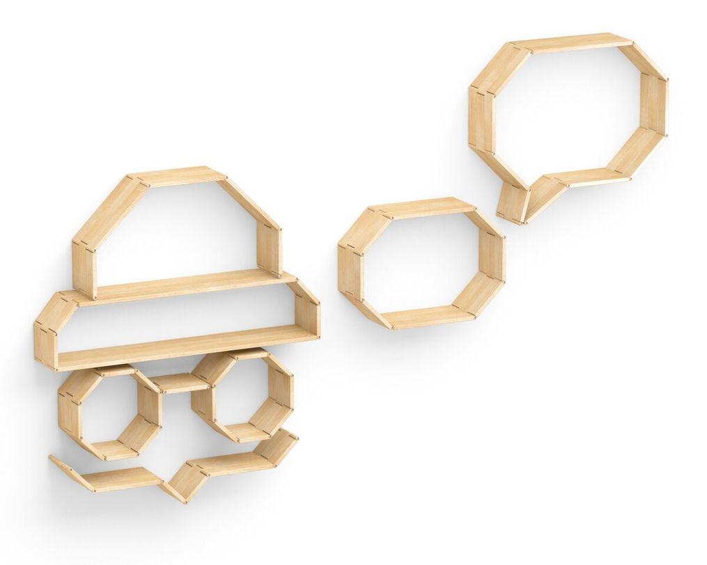 Полка Flex shelf. Set 114Полки<br>Полка &amp;quot;Flex Shelf&amp;quot; представляет собой набор фрагментов разной длины, которые можно скреплять между собой, используя шарнирные соединения и создавать любые композиции и формы.<br>Варианты цвета: натуральный ясень, белый, серый, черный, сиреневый, голубой, зеленый, оранжевый, красный Состав изделия: массив ясеня&amp;amp;nbsp;<br><br>Material: Ясень<br>Length см: 263<br>Width см: None<br>Depth см: 22<br>Height см: 143<br>Diameter см: None
