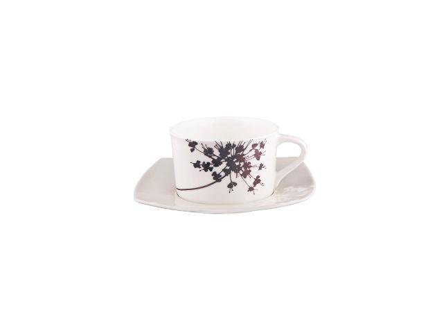 ЧАЙНАЯ ПАРА FLORAL SILHOUETTEЧайные пары и чашки<br>Какой чай вы любите? В любом случае будет так приятно пить его из чайной пары &amp;amp;nbsp;&amp;quot;FLORAL SILHOUETTE&amp;quot;. Едва уловимые ориентальные ноты дизайна, выраженные в использовании геометрических линий и черно-белого исполнения. Белоснежный тонкостенный фарфор, идеальная гладкость поверхности и брызги черного цвета – этот цветочный силуэт притягивает и манит.<br><br>Material: Фарфор