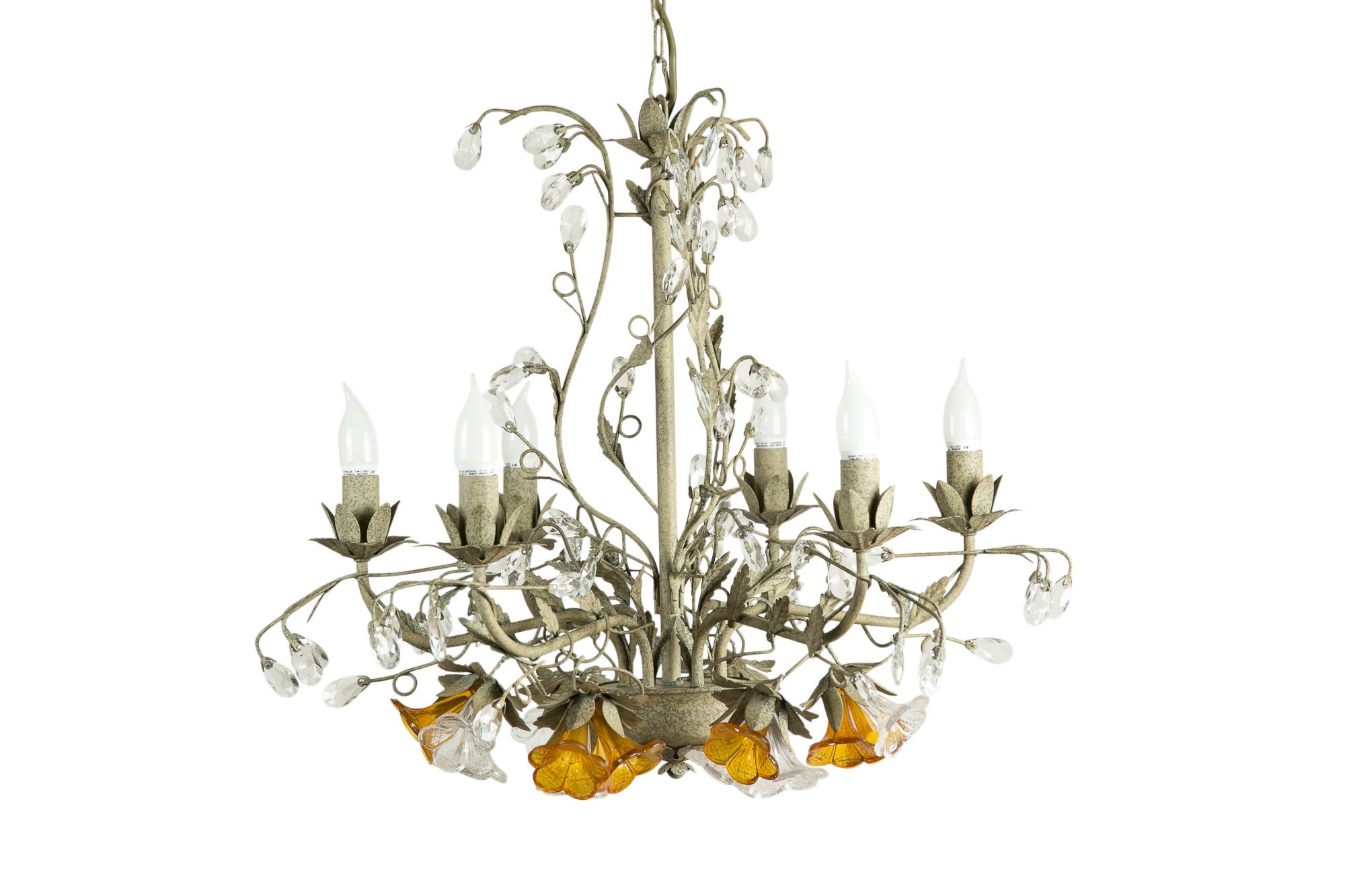 ЛюстраЛюстры подвесные<br>&amp;lt;div&amp;gt;Люстра от Deco-Home ? настоящее произведение искусства, на создание которого человека вдохновила безграничная красота природы. По виду она напоминает куст цветов, который распустился с приходом весны. Сами лампочки находятся в будто раскрывшихся навстречу солнцу бутонах. Люстра идеально подходит для романтичной спальни или кухни в стиле прованс.&amp;lt;/div&amp;gt;&amp;lt;div&amp;gt;&amp;lt;br&amp;gt;&amp;lt;/div&amp;gt;&amp;lt;div&amp;gt;Вид цоколя: E14&amp;lt;/div&amp;gt;&amp;lt;div&amp;gt;Мощность: 40W&amp;lt;/div&amp;gt;&amp;lt;div&amp;gt;Количество ламп: 6 (нет в комплекте)&amp;lt;/div&amp;gt;<br><br>Material: Металл<br>Length см: 72<br>Width см: 72<br>Height см: 58