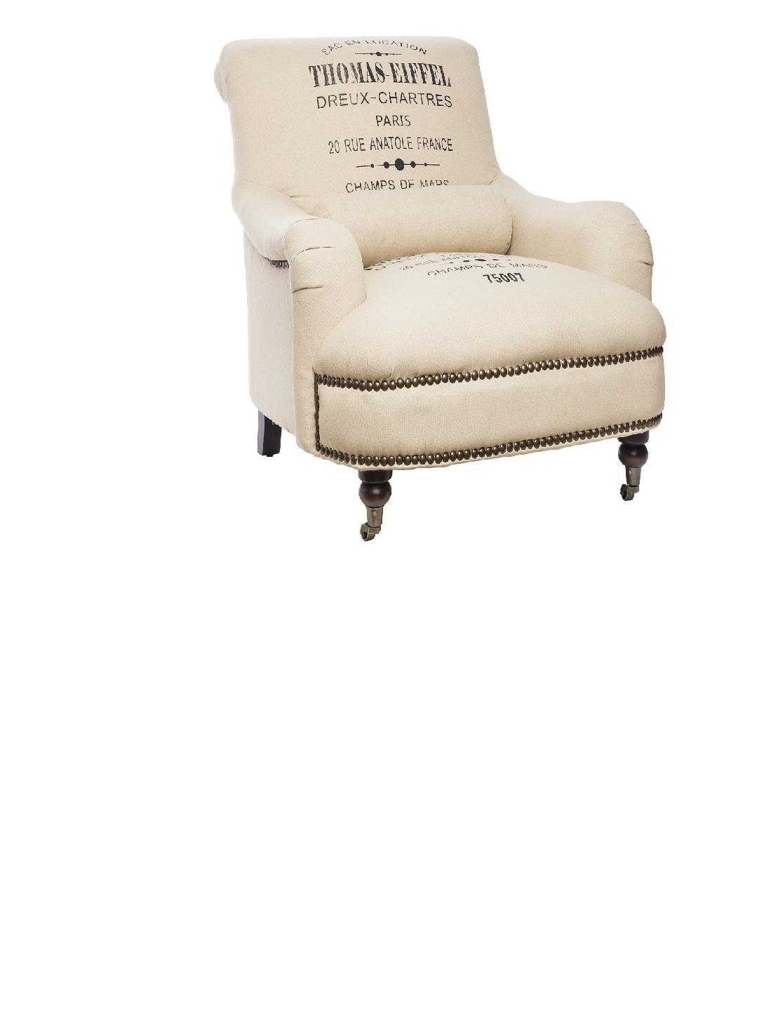 КреслоИнтерьерные кресла<br>Это кресло напоминает о временах, когда вольные художники делали мебель из мешка для кофе. Их простой, грубоватый стиль сейчас повторяет даже мебель класса люкс. Оббивка из плотной ткани бежевого оттенка с принтом-&amp;quot;этикеткой&amp;quot; полностью закрывает спинку, подлокотники и пышное сиденье. Каркас в нижней части дополнительно декорирован мебельными гвоздями с латунными шляпками.<br><br>Material: Текстиль<br>Length см: 110<br>Width см: 87<br>Depth см: None<br>Height см: 81