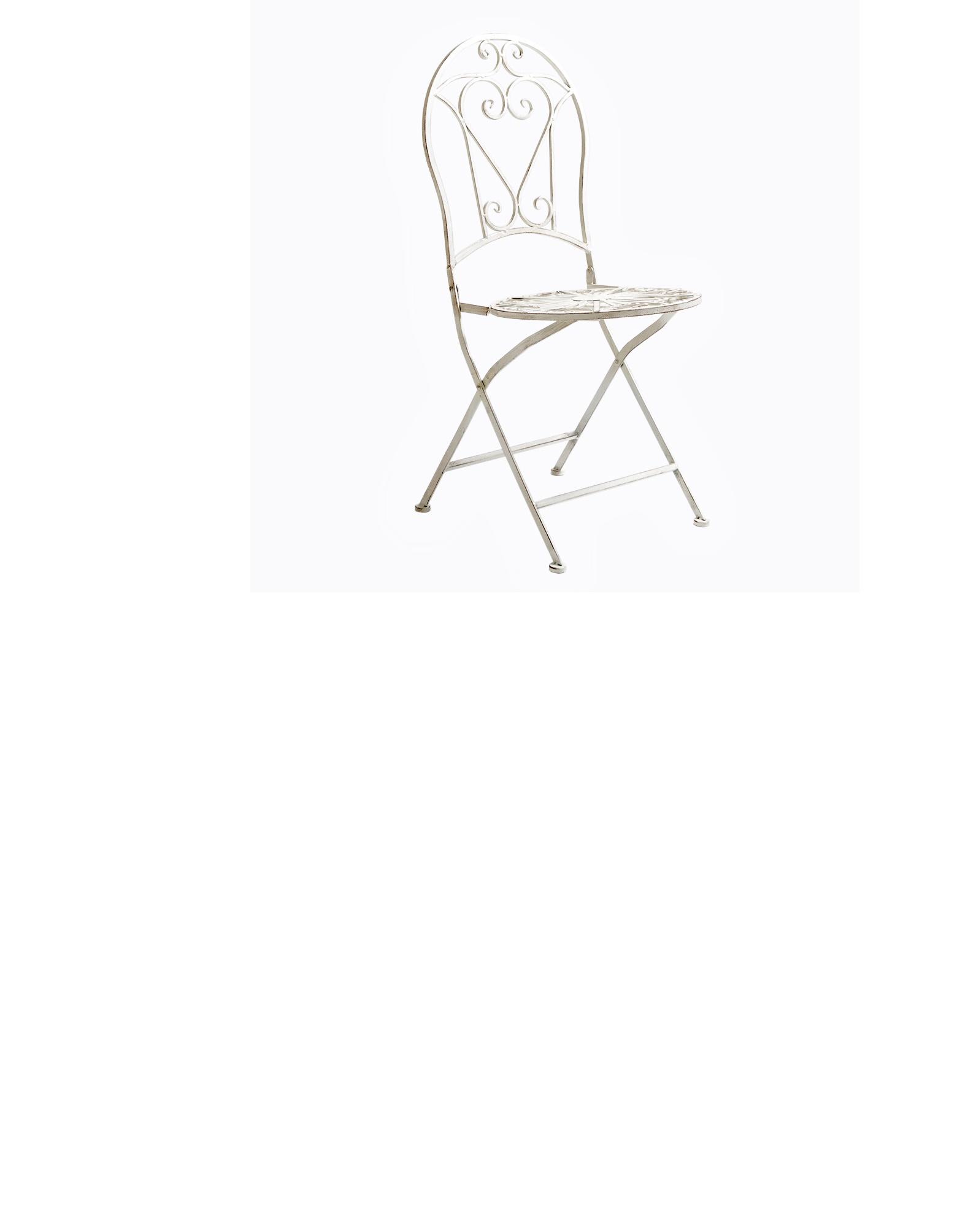Складной круглый стул «Тюильри» (белый антик)Обеденные стулья<br>Романтичный рисунок из завитков на складных стульях «Тюильри» будет изысканным украшением и дополнением любого интерьера. В каждом изгибе металлических элементов&amp;amp;nbsp; чувствуется дыхание провинциальной Франции. Абсолютно универсальный белый цвет гармонично сочетается с любыми цветовыми оттенками, он многогранен, ему под силу сыграть как главную, так и вспомогательную роль. Мебель изготовлена из материала, устойчивого к переменам климата и воздействию ультрафиолетовых лучей, поэтому можно без опаски оставлять мебель под открытым небом, и даже под дождем. &amp;lt;br&amp;gt;Поставляется в сложенном виде.&amp;lt;br&amp;gt;&amp;amp;nbsp;Размер: 92?39?48 см&amp;lt;br&amp;gt;Вес 5 кг<br><br>Material: Железо<br>Width см: 39<br>Depth см: 48<br>Height см: 92