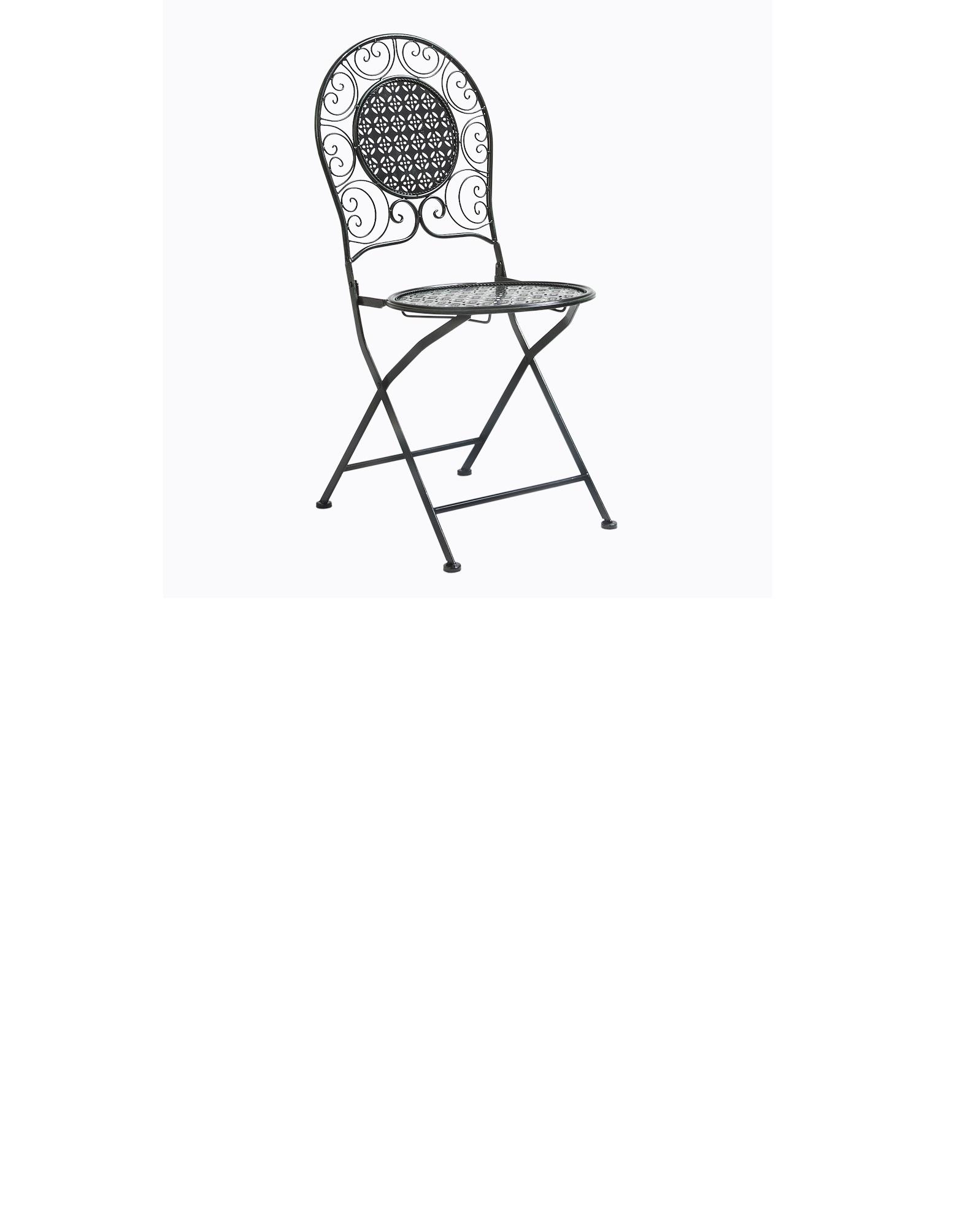 Складной стул «Монсо» (черный антик)Стулья для улицы<br>Складные стулья «Монсо» станут достойным украшением не только городской квартиры, но и престижного загородного дома или дачи. Металлическое кружево произведёт неизгладимое впечатление на гостей и останется неизменным, позволяя хозяину&amp;amp;nbsp; гордиться обладанием такой мебели. Этот стул - словно винтажный экземпляр, который мог быть украшением интерьера прошлых веков. Стул «Монсо» поможет сделать Ваш дом уникальным отражением Ваших идей и впечатлений! Насыщенный, богатый, таинственный черный цвет по праву является фаворитом дизайнеров и декораторов во всем мире. &amp;amp;nbsp;&amp;lt;br&amp;gt;Мебель изготовлена из материала, устойчивого к переменам климата и воздействию ультрафиолетовых лучей, поэтому можно без опаски оставлять мебель под открытым небом, и даже под дождем. &amp;lt;br&amp;gt;Поставляется в сложенном виде.&amp;lt;br&amp;gt;Вес в упаковке: 5,5 кг&amp;lt;br&amp;gt;Размер: 93?42,5?40 см&amp;lt;br&amp;gt;Размер в упаковке: 43?108?10 см<br><br>Material: Железо<br>Width см: 42,5<br>Depth см: 40<br>Height см: 93