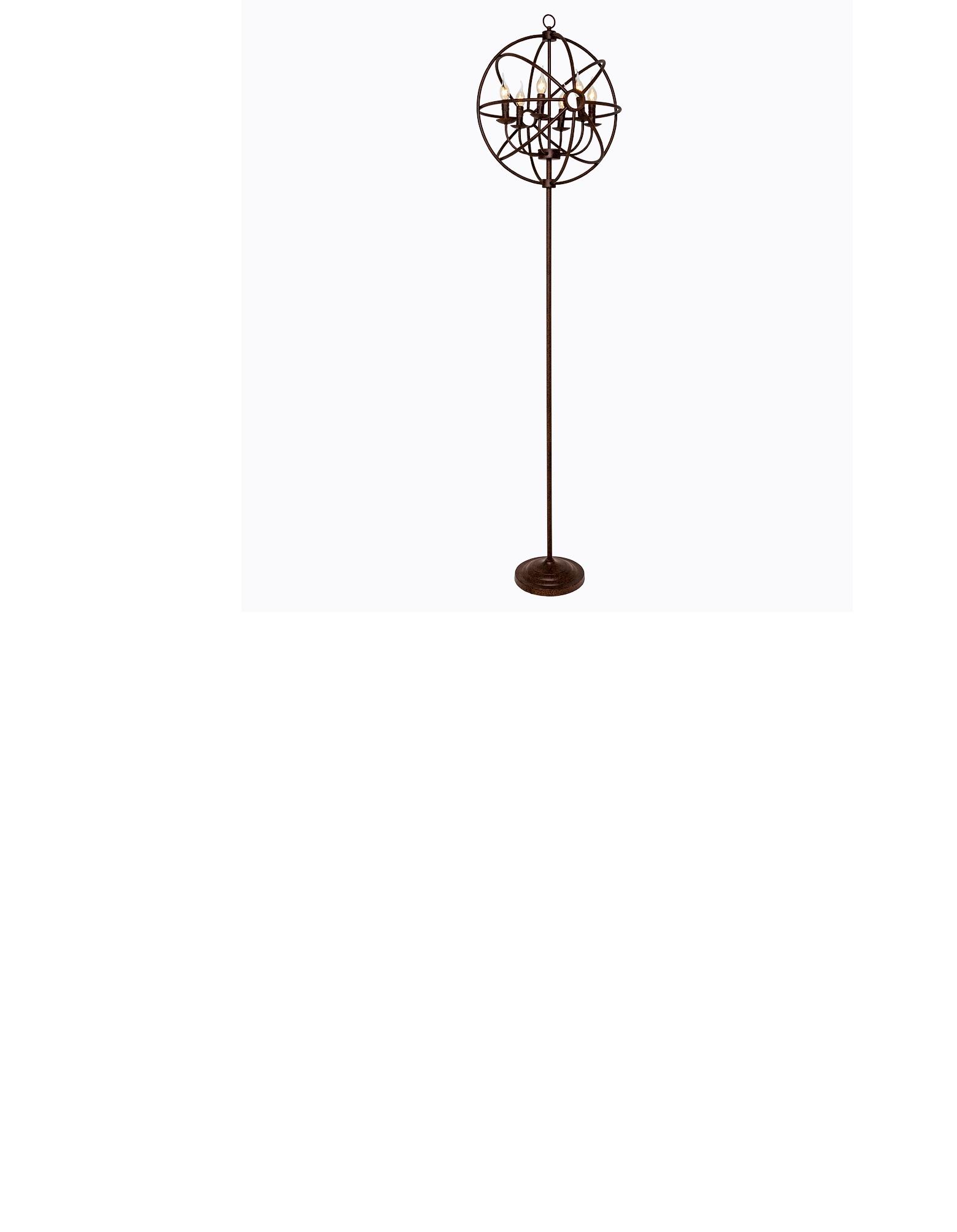 Торшер «Юбер»Торшеры<br>Украшенный&amp;amp;nbsp;абажуром из металлических прутьев, соединенных между собой в форме сферы, торшер «Юбер» возвышается на грациозном металлическом штативе. <br>Внутри металлической сферы — 6 осветительных ламп в форме свечи. Напольная лампа «Юбер» придаст современному декору авторский почерк и подойдет как для гостиной, так и для офиса.&amp;amp;nbsp;&amp;lt;div&amp;gt;Штатив торшера состоит из трех частей. Используя две или три части штатива, владелец может самостоятельно выбрать оптимальную высоту торшера.&amp;amp;nbsp;&amp;lt;/div&amp;gt;&amp;lt;div&amp;gt;Размер: ? 51 см, высота 200 см (может регулироваться по желанию владельца).&amp;lt;/div&amp;gt;&amp;lt;div&amp;gt;Размер в упаковке: 60?60?59 см.&amp;amp;nbsp;&amp;lt;/div&amp;gt;&amp;lt;div&amp;gt;Вес: 9,02 кг; вес в упаковке: 11,24 кг.&amp;lt;/div&amp;gt;&amp;lt;div&amp;gt;Поставляется без ламп. Требуется 6 ламп E14&amp;lt;/div&amp;gt;&amp;lt;div&amp;gt;Цвет: темно-коричневый, с эффектом старения&amp;lt;/div&amp;gt;<br><br>Material: Металл<br>Height см: 200<br>Diameter см: 51