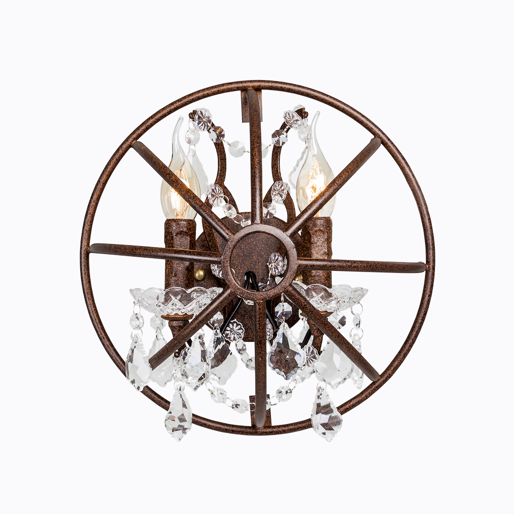 Настенный светильник «Мольер»Бра<br>Настенный светильник «Мольер» безупречно дополнит дизайн, сформированный в классическом стиле с легкими индустриальными нотками.&amp;lt;div&amp;gt;Хрустальные подвески гипнотизируют взгляд изяществом и дорогим блеском.&amp;amp;nbsp;&amp;lt;/div&amp;gt;&amp;lt;div&amp;gt;Светильник «Мольер» — это нежное дыхание летнего бриза сквозь изящные изгибы металлических прутьев и отблеск хрусталя.&amp;amp;nbsp;&amp;lt;/div&amp;gt;&amp;lt;div&amp;gt;Размер: 32?32?16 см.&amp;lt;/div&amp;gt;&amp;lt;div&amp;gt;Размер в упаковке: 36?36?18 см.&amp;amp;nbsp;&amp;lt;/div&amp;gt;&amp;lt;div&amp;gt;Вес: 1,4 кг; вес в упаковке: 1,94 кг.&amp;amp;nbsp;&amp;lt;/div&amp;gt;&amp;lt;div&amp;gt;Поставляется без ламп.&amp;amp;nbsp;&amp;lt;/div&amp;gt;&amp;lt;div&amp;gt;Требуется 2 лампы E14&amp;amp;nbsp;&amp;lt;/div&amp;gt;&amp;lt;div&amp;gt;Цвет: коричневый, с эффектом искусственного старения&amp;lt;/div&amp;gt;<br><br>Material: Металл<br>Ширина см: 32<br>Высота см: 32<br>Глубина см: 16