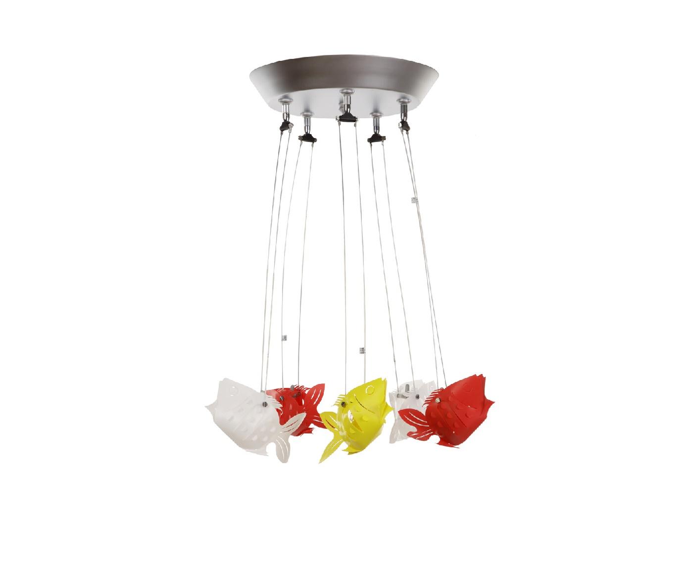 Потолочный светильник РыбкиПодвесные светильники<br>Красочный светильник &amp;quot;Рыбки&amp;quot; одним совим видом успокаивает и дарит гармонию. Об аквариуме с цветными обитателями морей мечтают многие люди, но это дорогое удовольствие, а позволить себе такой светильник может каждый.&amp;lt;div&amp;gt;&amp;lt;br&amp;gt;&amp;lt;div&amp;gt;&amp;lt;span style=&amp;quot;line-height: 27.7777786254883px;&amp;quot;&amp;gt;Безопасное напряжение 12V. Трансформатор и галогенные лампы OSRAM 20W (5шт) в комплекте. Лампы находятся в цветном теле рыбок. Материалы - металл (серебристый), пластик (синий, желтый, белый), длина рыбки 14 см.&amp;lt;/span&amp;gt;&amp;lt;br&amp;gt;&amp;lt;/div&amp;gt;&amp;lt;/div&amp;gt;<br><br>Material: Металл<br>Height см: 50<br>Diameter см: 32