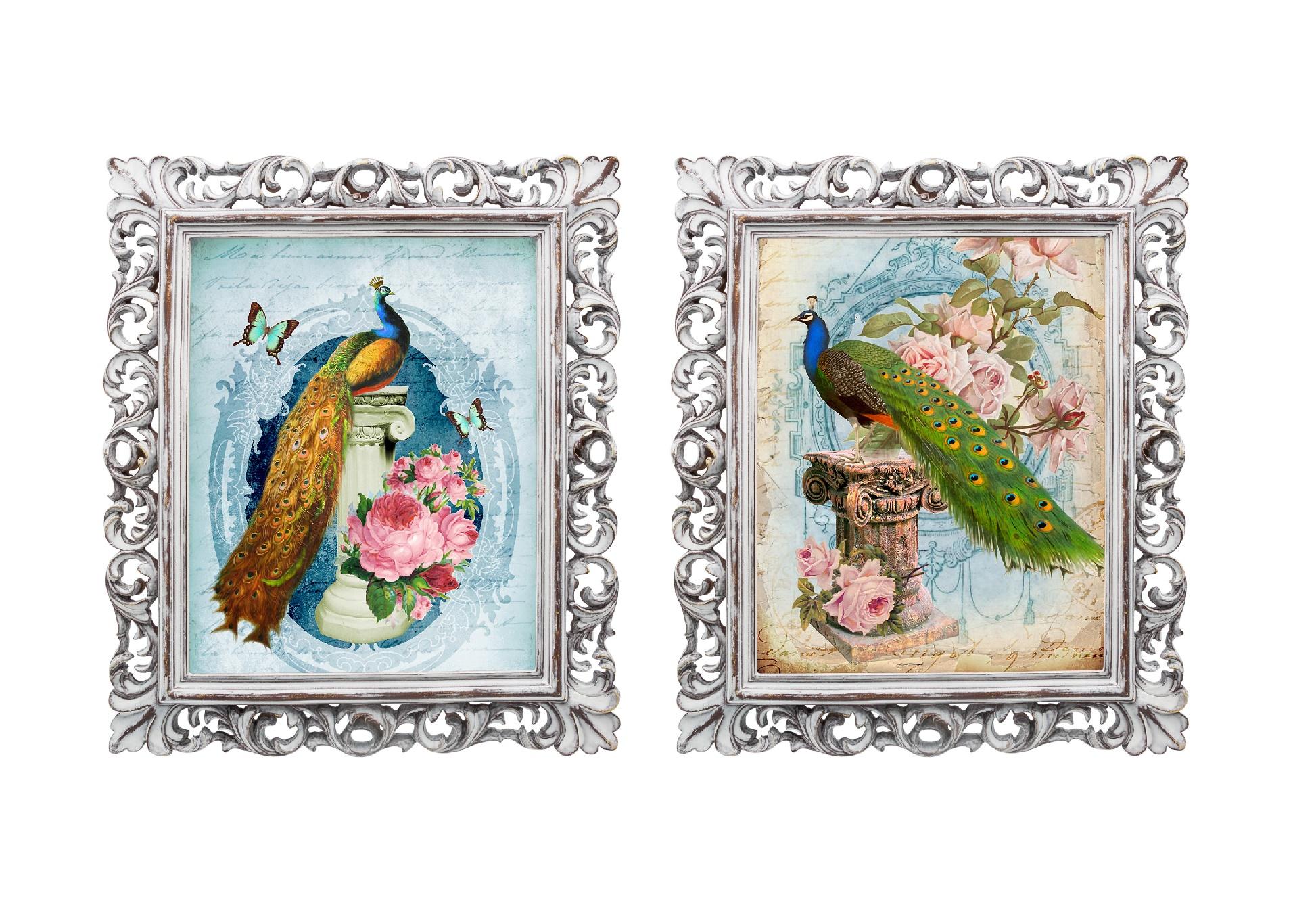 Набор из двух репродукций МадленКартины<br>Уникальные старинные изображения &amp;quot;Красавец с длинным опереньем&amp;quot; в окружении изящных рам создадут особую романтическую атмосферу. Изображение красивой птицы с великолепным, переливающимся всеми цветами радуги, оперением, завораживает и погружает в магическую атмосферу таинства, наполняет дом чудесами. Изображения обрамлены винтажными рамами, искусная техника состаривания придает изделию особую теплоту и загадочность. Благородная патина на поверхности рамы — интригующее приглашение к прогулке в мир старинных реликвий! Изображение картины наполнено уникальными эмоциями и тайной, скрытой под кристально прозрачным стеклом. Картину можно повесить на стену, а можно поставить, например, на стол или камин. Защитный стеклянный слой гарантирует долгую жизнь прекрасному изображению. А если Вам захочется обновить интерьер, Вы можете с легкостью заменить изображение картины!&amp;lt;div&amp;gt;&amp;lt;br&amp;gt;&amp;lt;/div&amp;gt;<br><br>Material: Бумага<br>Width см: 28,8<br>Depth см: 2,3<br>Height см: 33,8