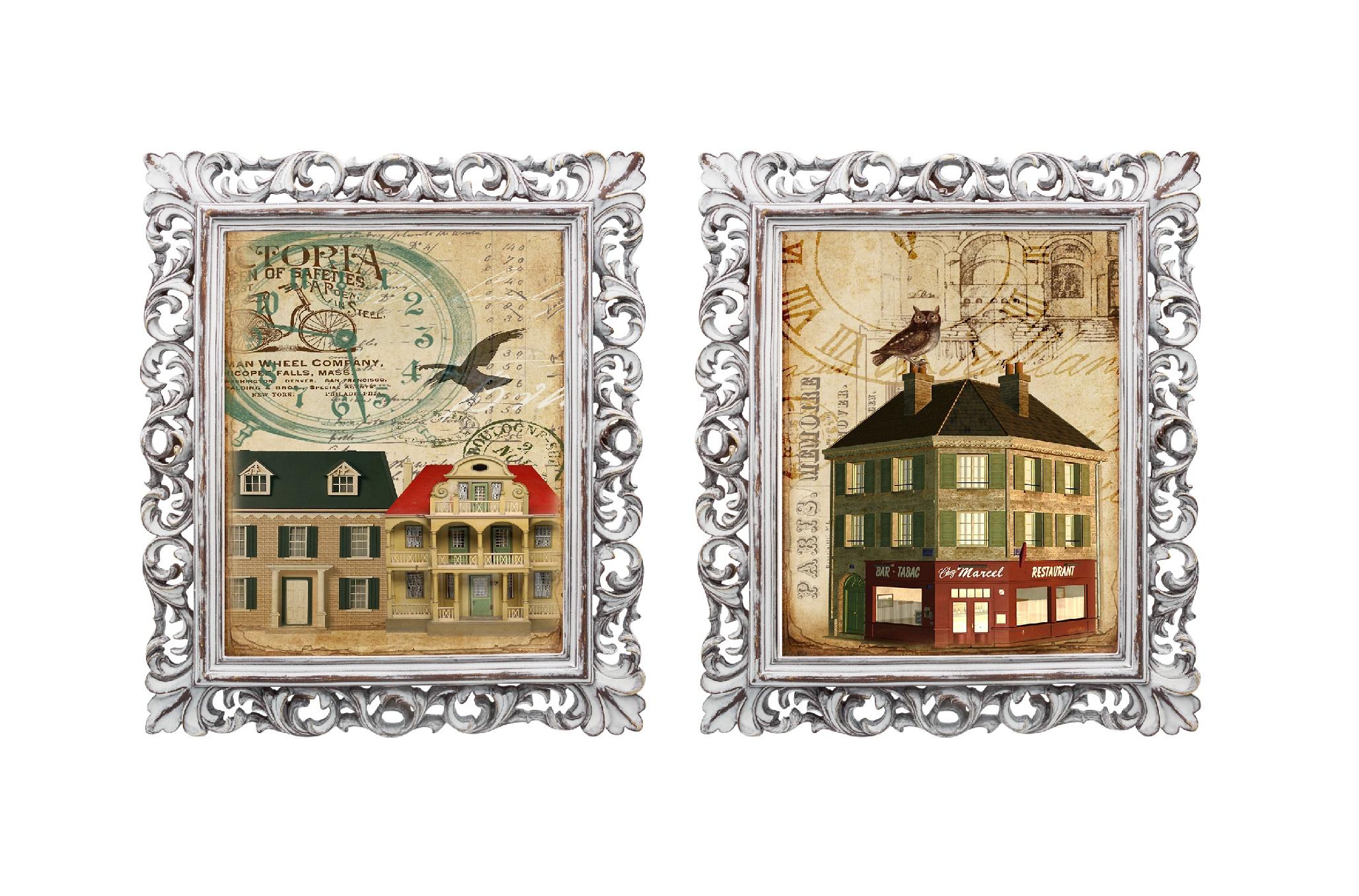 Набор из двух репродукций МадленКартины<br>Репродукции картин &amp;quot;Старинная открытка&amp;quot; - словно дверца в невероятный сказочный мир, они позволят Вам отправиться в увлекательное путешествие или окунуться в романтичную атмосферу. Эти старинные картины вызывают исключительно позитивные эмоции. Изображения обрамлены винтажными рамами, искусная техника состаривания придает изделию особую теплоту и загадочность. Благородная патина на поверхности рамы — интригующее приглашение к прогулке в мир старинных реликвий! Изображение картины наполнено уникальными эмоциями и тайной, скрытой под кристально прозрачным стеклом. Картину можно повесить на стену, а можно поставить, например, на стол или камин. Защитный стеклянный слой гарантирует долгую жизнь прекрасному изображению. А если Вам захочется обновить интерьер, Вы можете с легкостью заменить изображение картины!&amp;lt;div&amp;gt;&amp;lt;br&amp;gt;&amp;lt;/div&amp;gt;<br><br>Material: Бумага<br>Ширина см: 28<br>Высота см: 33<br>Глубина см: 2