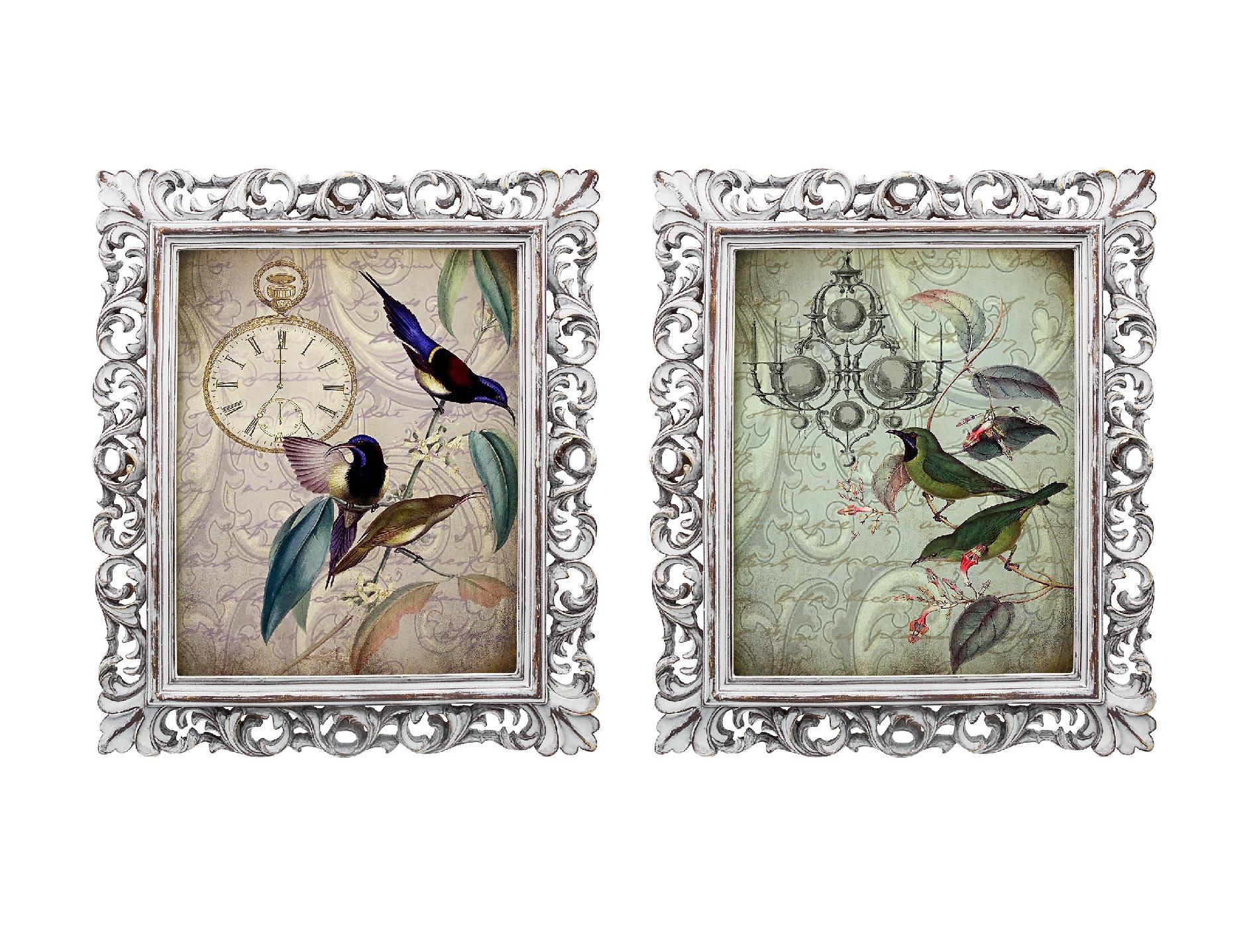 Набор из двух репродукций старинных картин в раме Мадлен. Райские птицыКартины<br>Уникальные старинные изображения &amp;quot;Райские птицы&amp;quot; в окружении изящных рам создают особую романтическую атмосферу. Плавные линии витиеватых рам и мотивы гравюр завораживают и намекают на то, что путешествие во времени не так уж и сложно. Изображения райских птиц обрамлены ажурными рамами, искусная техника состаривания придает изделию особую теплоту и загадочность. Благородная патина на поверхности рамы — интригующее приглашение к прогулке в мир старинных реликвий! Изображение картины наполнено уникальными эмоциями и тайной, скрытой под кристально прозрачным стеклом. Картину можно повесить на стену, а можно поставить, например, на стол или камин. Защитный стеклянный слой гарантирует долгую жизнь прекрасному изображению. А если Вам захочется обновить интерьер, Вы можете с легкостью заменить изображение картины!&amp;lt;div&amp;gt;&amp;lt;br&amp;gt;&amp;lt;/div&amp;gt;<br><br>Material: Бумага<br>Width см: 28,8<br>Depth см: 2,3<br>Height см: 33,8