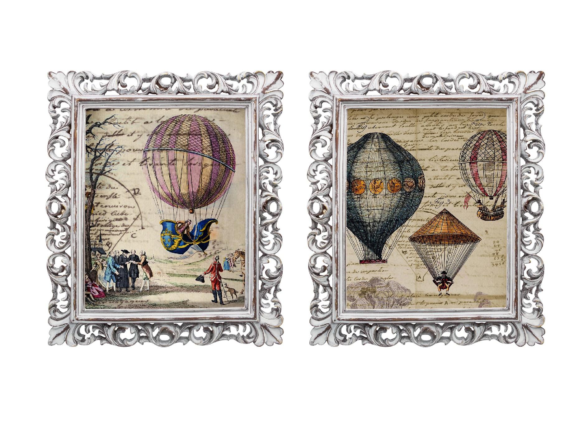 Набор из двух репродукций старинных картин в раме Мадлен. Сказочное путешествиеКартины<br>Уникальные старинные изображения «Сказочное путешествие» в окружении изящных рам создадут особую романтическую атмосферу. Старинные воздушные шары, словно «машина времени», приглашают в увлекательное путешествие в прошлые времена. Изображения обрамлены винтажными рамами, искусная техника состаривания придает изделию особую теплоту и загадочность. Благородная патина на поверхности рамы — интригующее приглашение к прогулке в мир старинных реликвий! Изображение картины наполнено уникальными эмоциями и тайной, скрытой под кристально прозрачным стеклом. Картину можно повесить на стену, а можно поставить, например, на стол или камин. Защитный стеклянный слой гарантирует долгую жизнь прекрасному изображению. А если Вам захочется обновить интерьер, Вы можете с легкостью заменить изображение картины!&amp;lt;div&amp;gt;&amp;lt;br&amp;gt;&amp;lt;/div&amp;gt;<br><br>Material: Бумага<br>Width см: 28,8<br>Depth см: 2,3<br>Height см: 33,8
