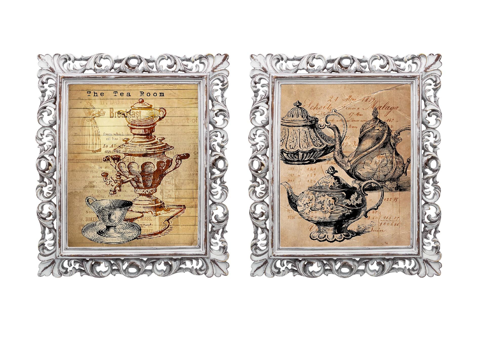 Набор из двух репродукций старинных картин в раме Мадлен. Чайная церемонияКартины<br>Уникальные старинные гравюры &amp;quot;Чайная церемония&amp;quot; в окружении изящных рам создают особую романтическую атмосферу. Плавные линии витиеватых рам и винтажные завораживают и намекают на то, что путешествие во времени не так уж и сложно. Изображения обрамлены ажурными рамами, искусная техника состаривания придает изделию особую теплоту и загадочность. Благородная патина на поверхности рамы — интригующее приглашение к прогулке в мир старинных реликвий! Изображение картины наполнено уникальными эмоциями и тайной, скрытой под кристально прозрачным стеклом. Картину можно повесить на стену, а можно поставить, например, на стол или камин. Защитный стеклянный слой гарантирует долгую жизнь прекрасному изображению. А если Вам захочется обновить интерьер, Вы можете с легкостью заменить изображение картины!<br><br>Material: Бумага<br>Width см: 28,8<br>Depth см: 2,3<br>Height см: 33,8