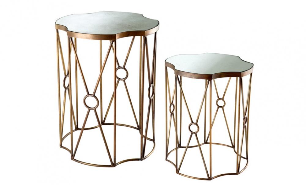 Комплект столиков Side Table Sun Brass (2 шт)Приставные столики<br>Превосходные столики &amp;quot;Side Table Sun Brass&amp;quot; словно заключили в себе ослепительный блеск солнечных лучей. Может быть они держат их в основании, напоминающем клетку? Или в потустороннем зеркальном мире, из которого невозможно выбраться? Теперь эту загадку предстоит разгадать вам...&amp;amp;nbsp;&amp;lt;div&amp;gt;&amp;lt;br&amp;gt;&amp;lt;/div&amp;gt;&amp;lt;div&amp;gt;Размеры: 55*55*72 см; 44.5*44.5*56.5 см.&amp;amp;nbsp;&amp;lt;/div&amp;gt;&amp;lt;div&amp;gt;Материал: латунь, зеркальное стекло.&amp;lt;/div&amp;gt;<br><br>Material: Латунь<br>Height см: 71<br>Diameter см: 54