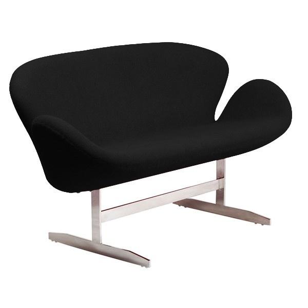 Диван SwanДвухместные диваны<br>Эта мебель ? &amp;quot;диванная&amp;quot; интерпретация знаменитого кресла Swan, которое придумал Арне Якобсен для интерьера отеля Radisson SAS в Копенгагене. Каркас изготовлен из металла, а обивка выполнена из мягчайшего кашемира.<br><br>Material: Кашемир<br>Length см: 142<br>Width см: 66<br>Height см: 80