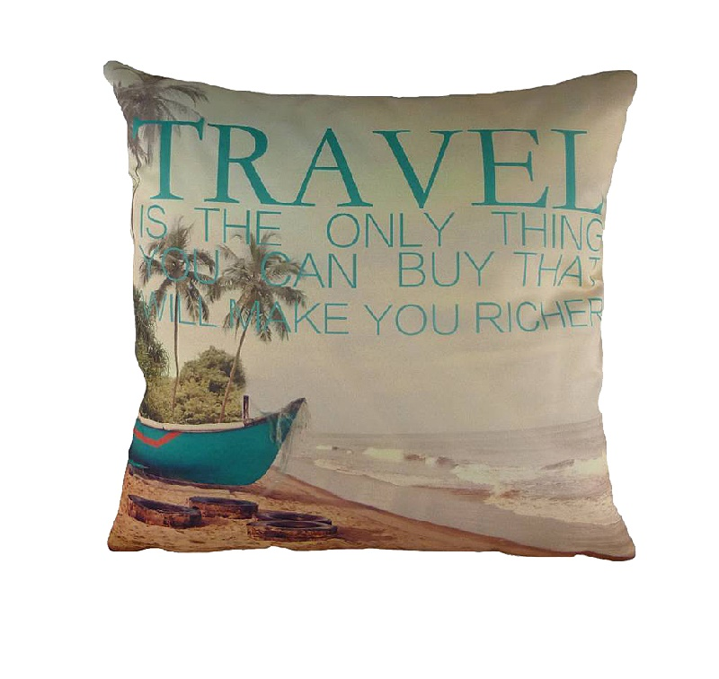 Подушка с принтом TravelКвадратные подушки и наволочки<br>Что такое путешествие? Это удивительная вещь, которую вы покупаете, а она делает вас богаче. Ведь разве можно оценить все неизгладимые впечатления, моменты, картины, которые останутся в вашей памяти навсегда? А еще путешествие – это нежная подушка &amp;quot;TRAVEL&amp;quot;, на которой изображен необитаемый остров, море, пальмы и лодка. Куда она унесет вас во время сладкого сна?<br><br>Material: Текстиль<br>Length см: 43<br>Width см: 43<br>Height см: 6