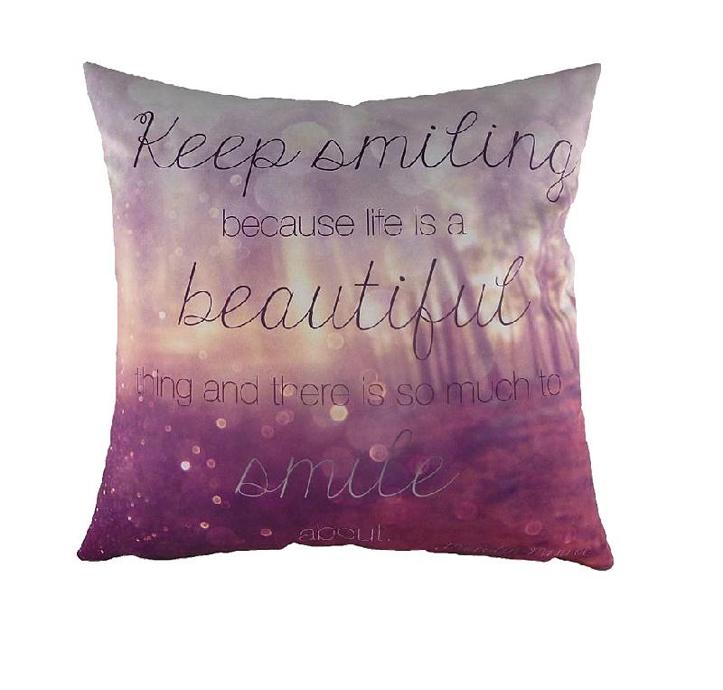 Подушка с принтом Keep SmilingКвадратные подушки<br><br><br>Material: Текстиль<br>Length см: 43<br>Width см: 43<br>Height см: 6